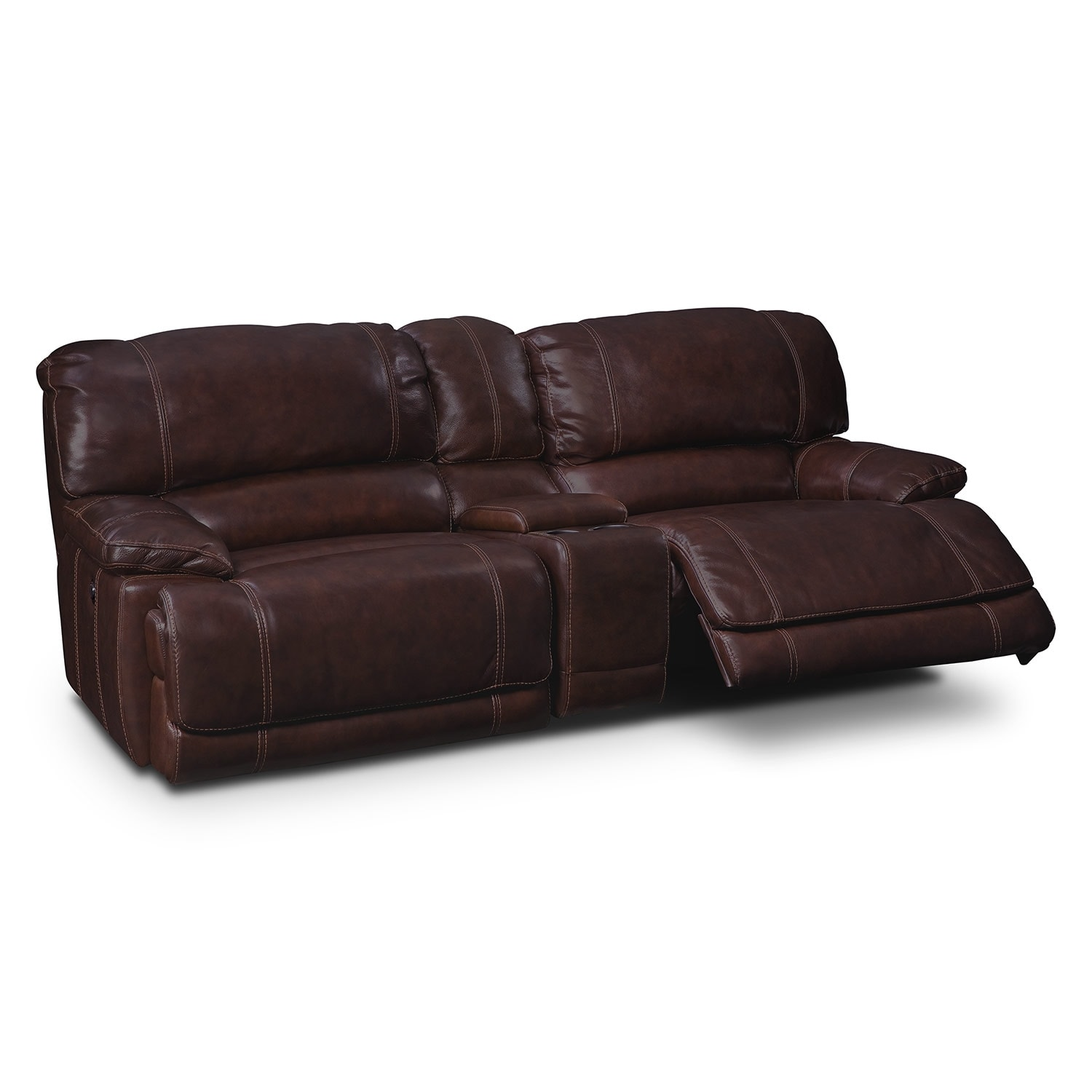 St Malo Iii Leather 3 Pc Power Reclining Sofa With Console Value City Furniture