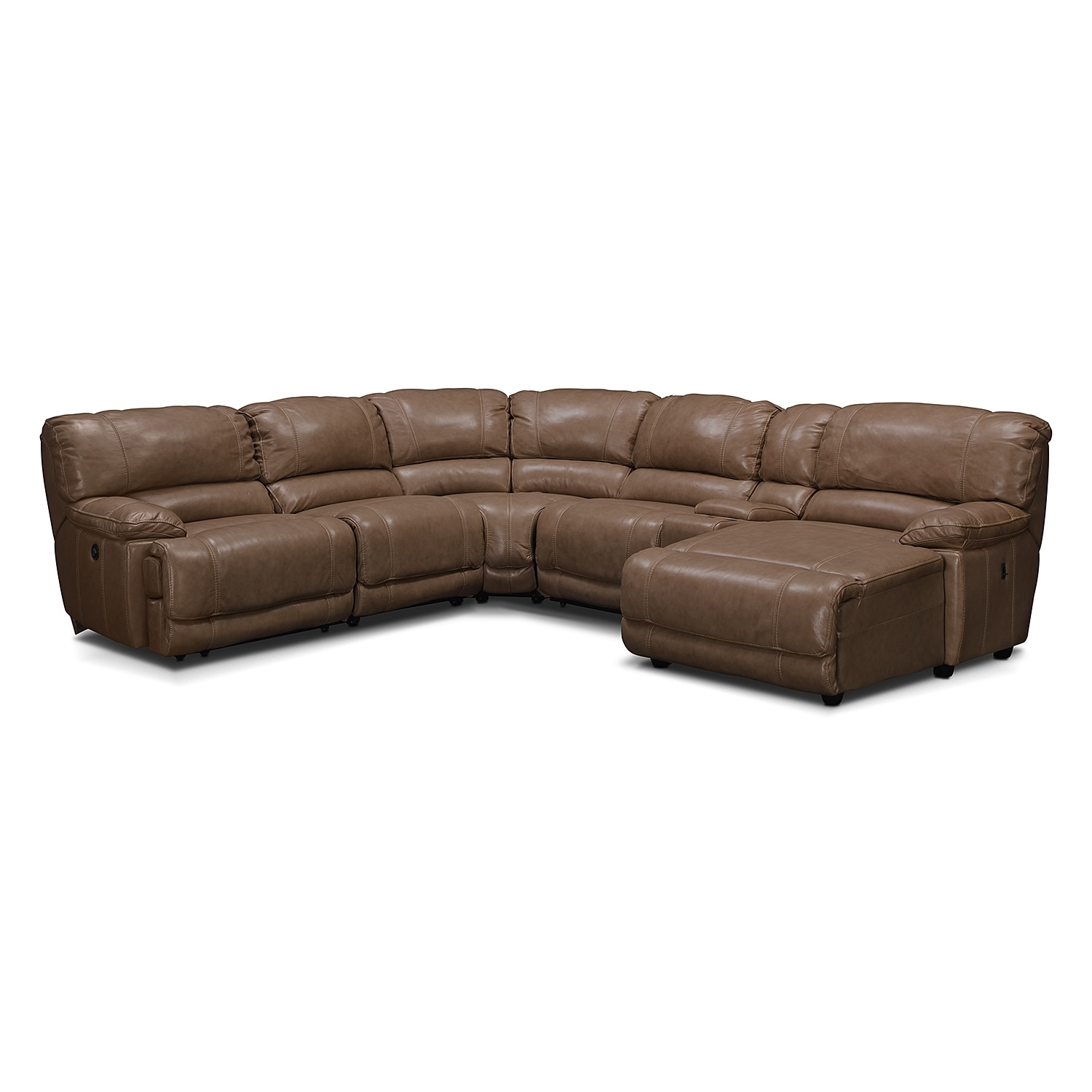 Living Room Furniture - Clinton Taupe 6 Pc. Power Reclining Sectional