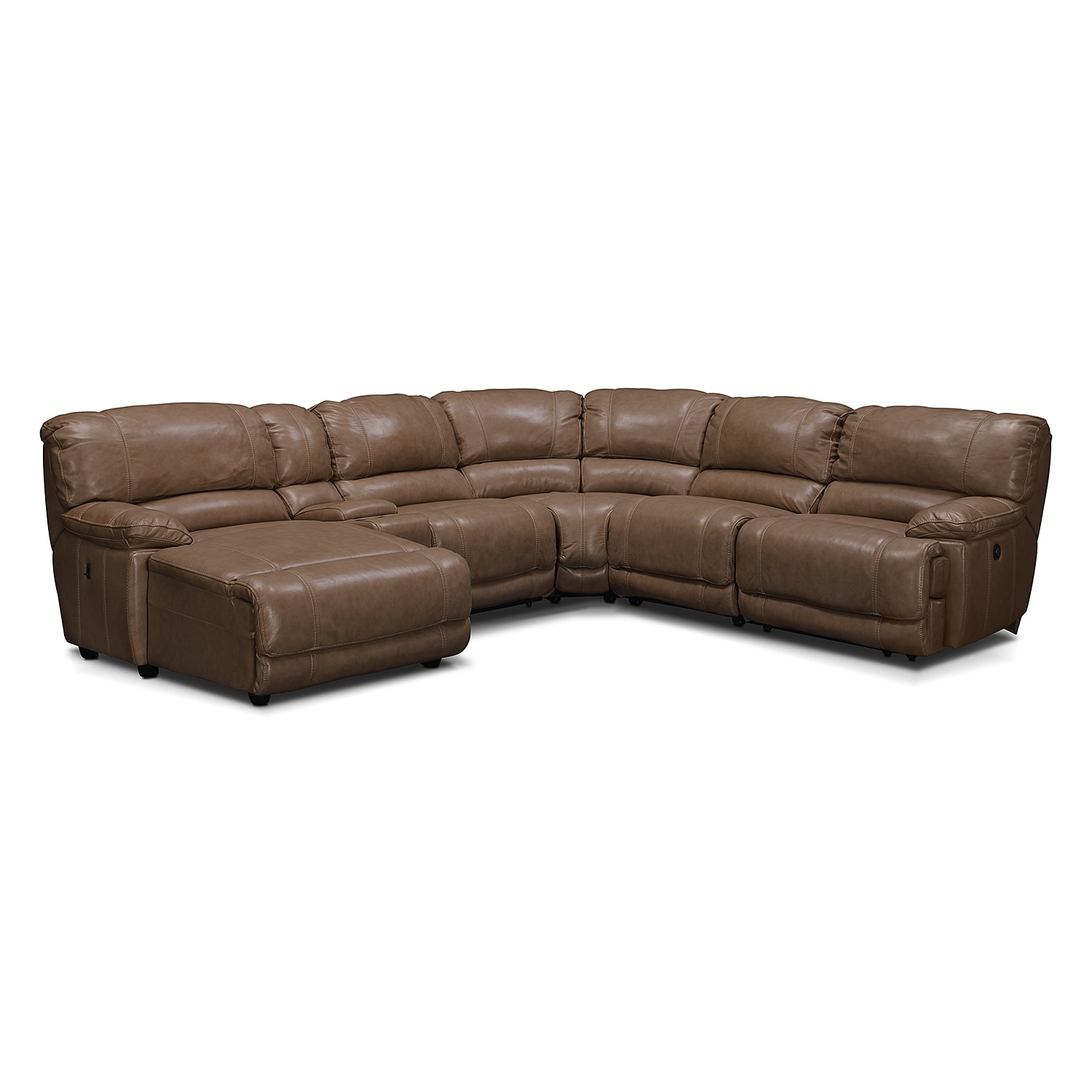 Living Room Furniture - Clinton Taupe 6 Pc. Power Reclining Sectional (Reverse)
