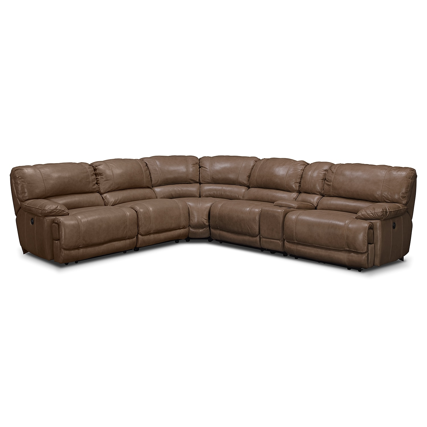 St malo power reclining sofa with console taupe value for Brighton taupe 3 piece chaise and sofa set