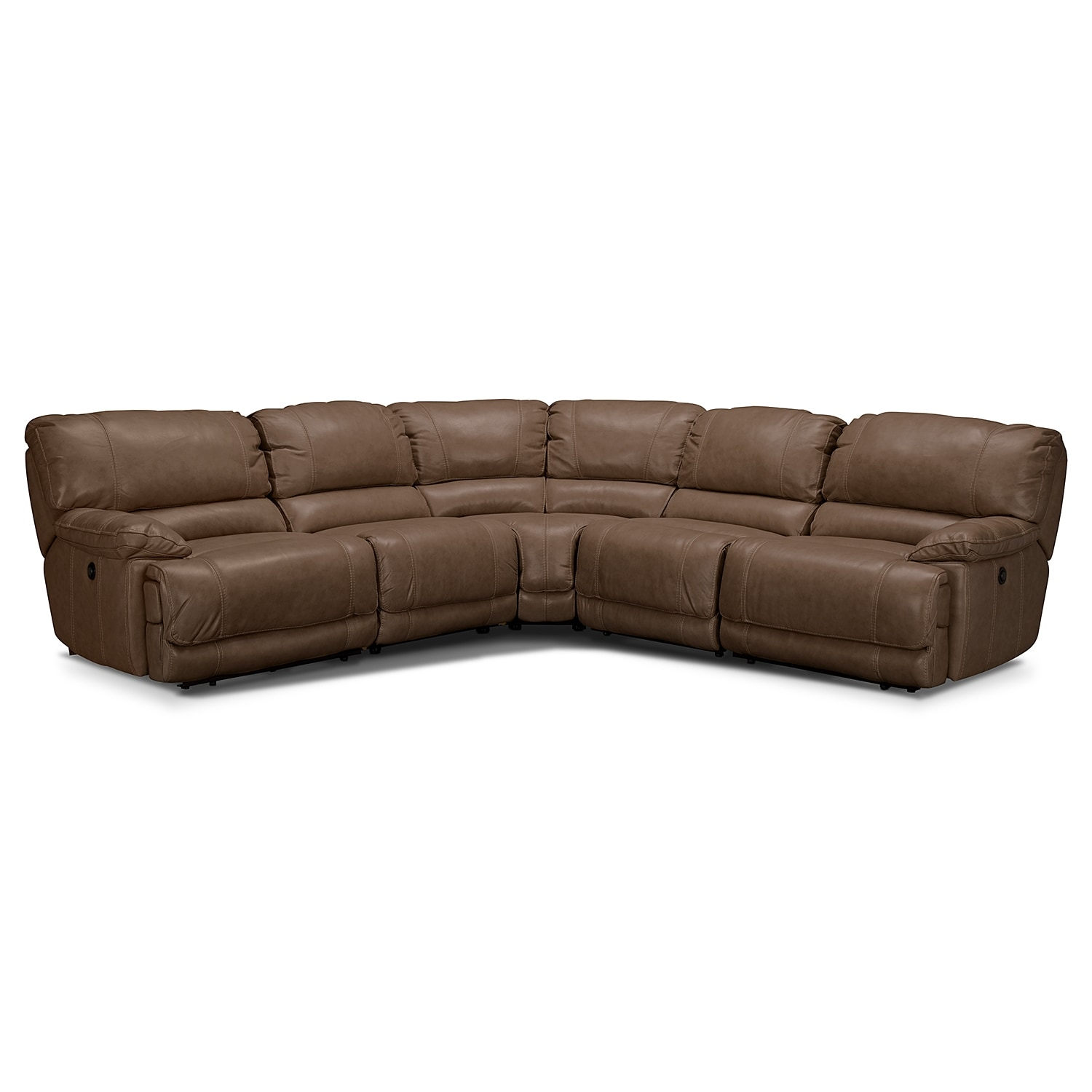 Living Room Furniture - Clinton Taupe 5 Pc. Power Reclining Sectional