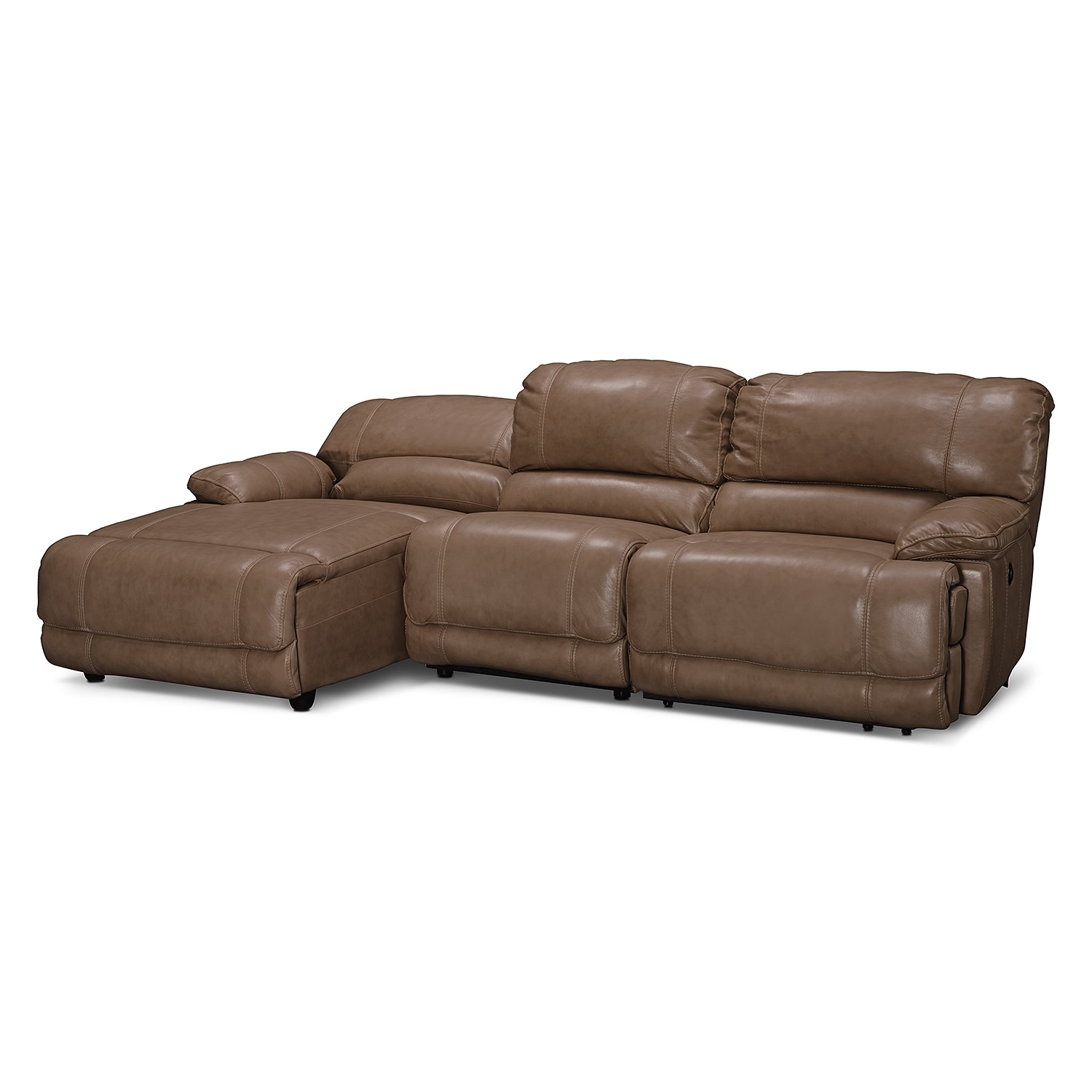 Clinton taupe leather 3 pc power reclining sectional for Brighton taupe 3 piece chaise and sofa set