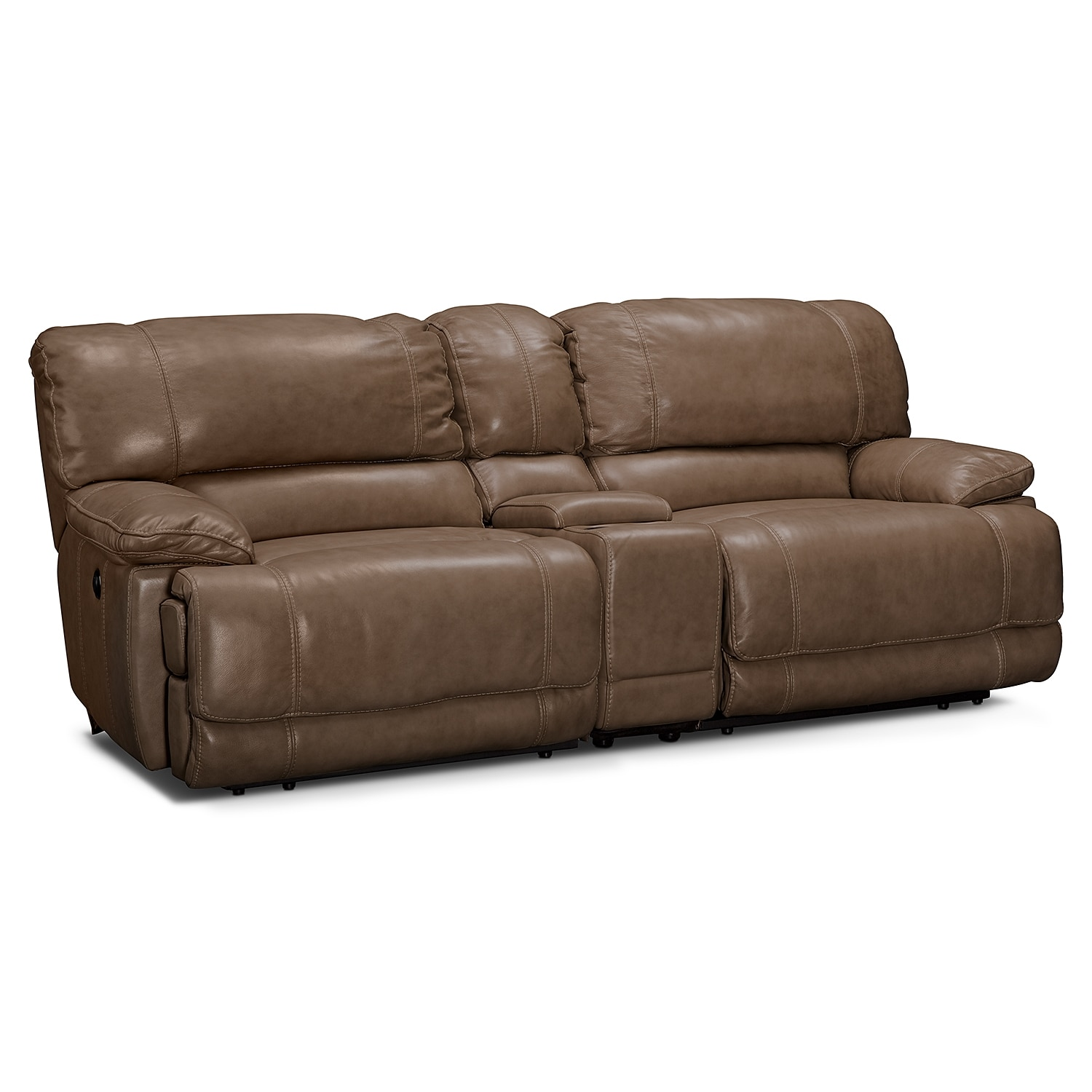 clinton taupe power reclining sofa with console. Black Bedroom Furniture Sets. Home Design Ideas