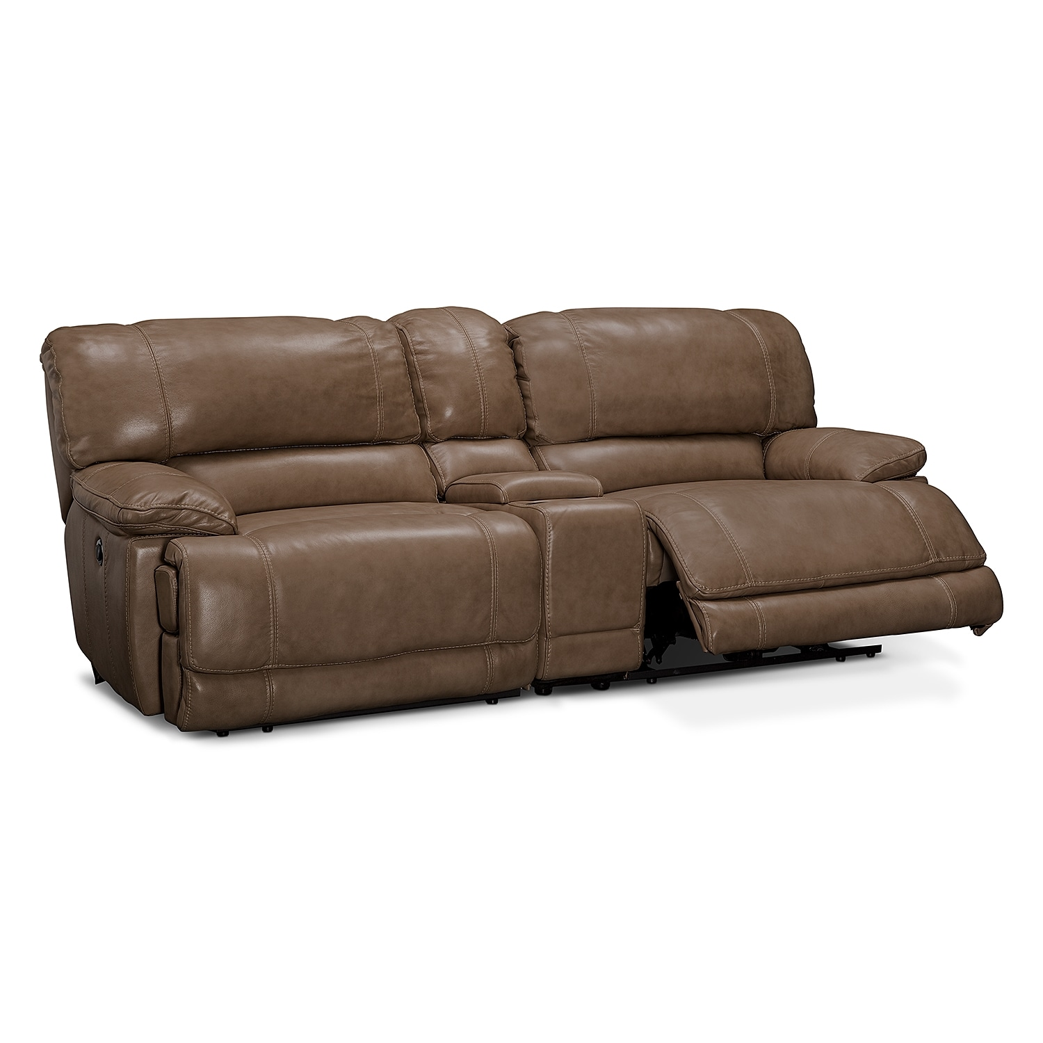 St malo power reclining sofa with console taupe for Couch console