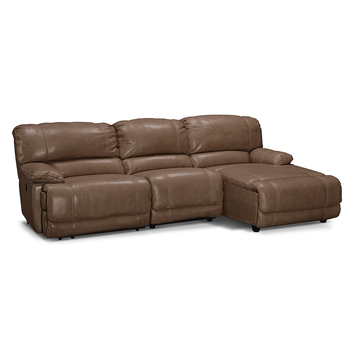 Living Room Furniture - Clinton Taupe 3 Pc. Power Reclining Sectional