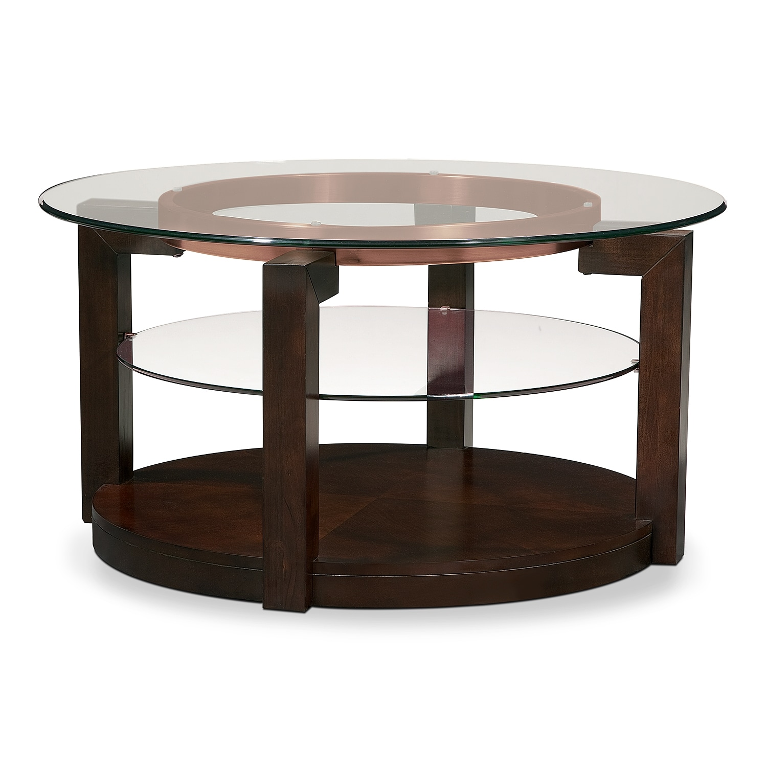 Auburn cocktail table value city furniture for Living coffee table