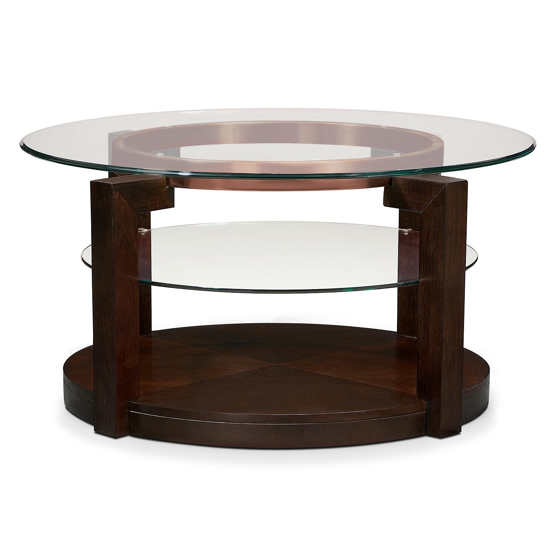 Auburn cocktail table merlot value city furniture for Coffee tables value city furniture