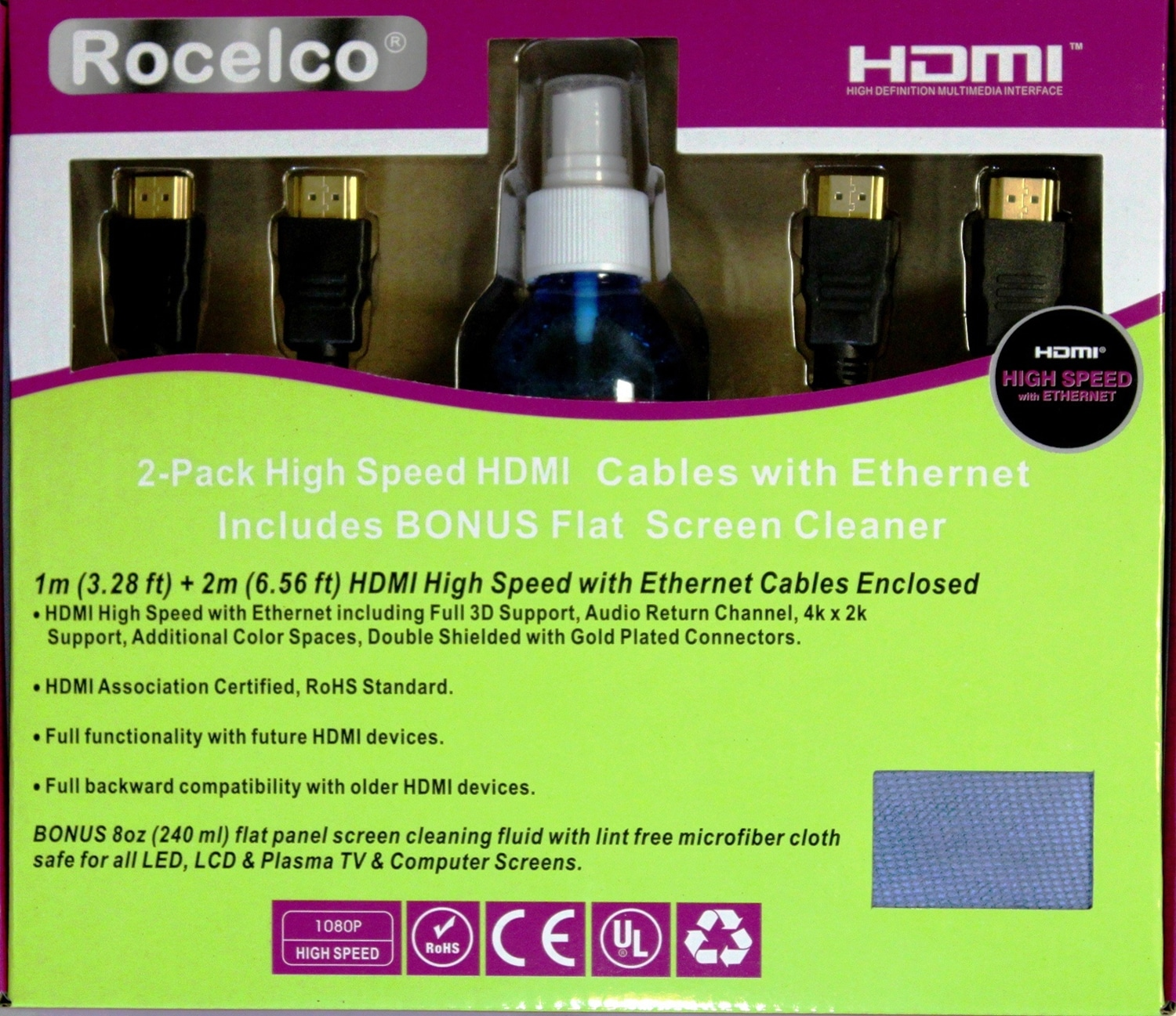 Rocelco 2-Pack HDMI Starter Kit with BONUS Flat Screen Cleaner