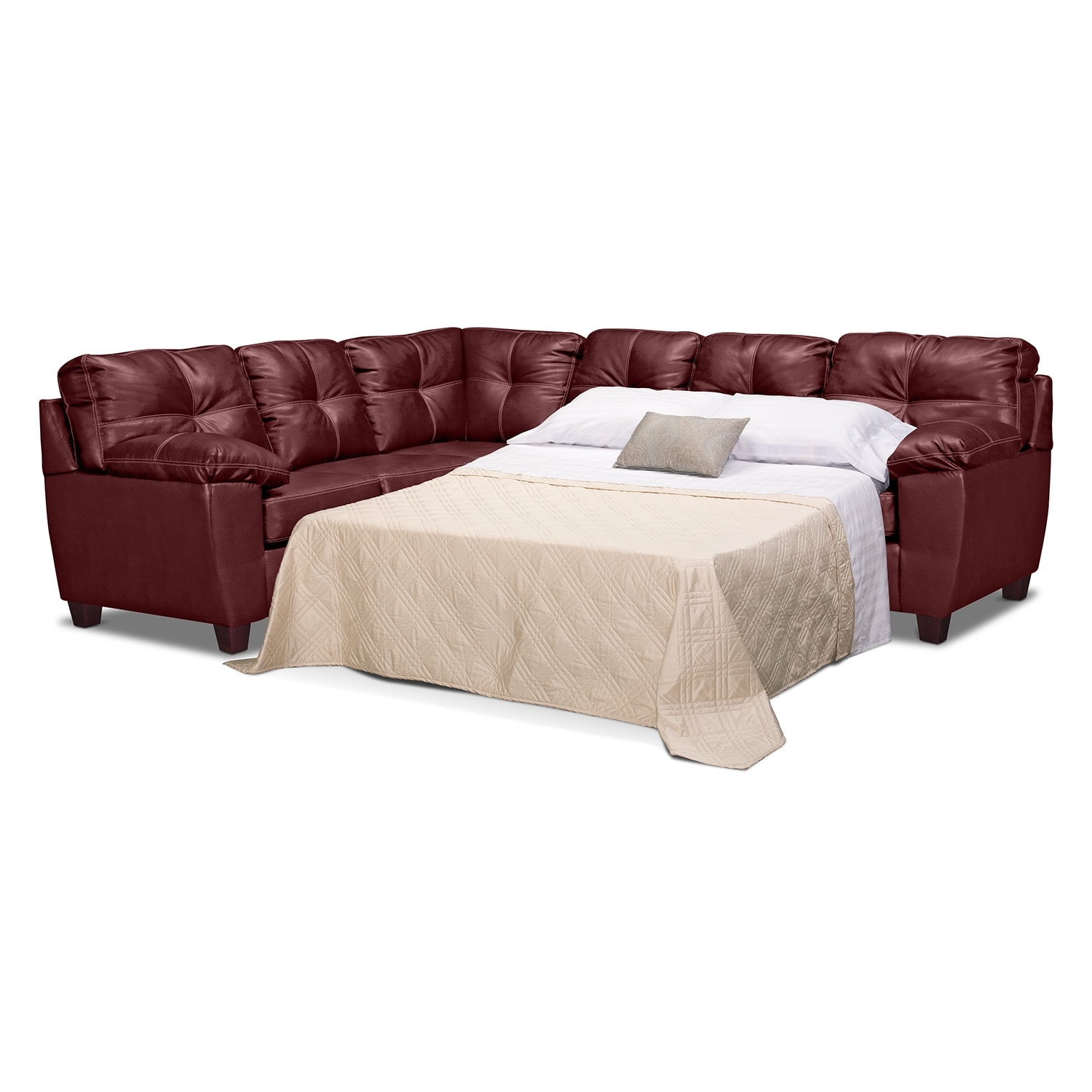 Rialto ii leather 2 pc sleeper sectional value city for Sleeper sectional
