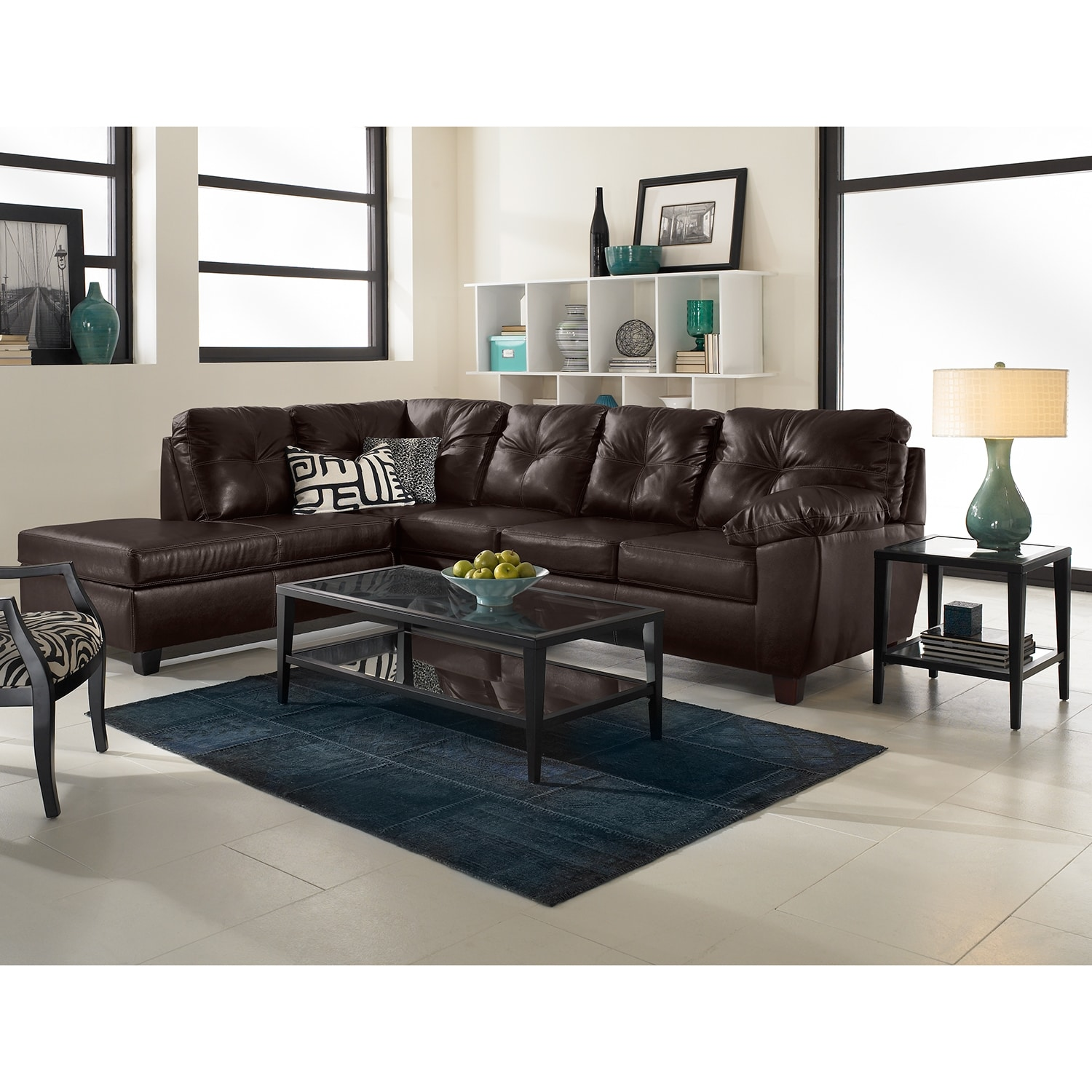 Rialto iii leather 2 pc sectional with chaise value for Chaise living room furniture
