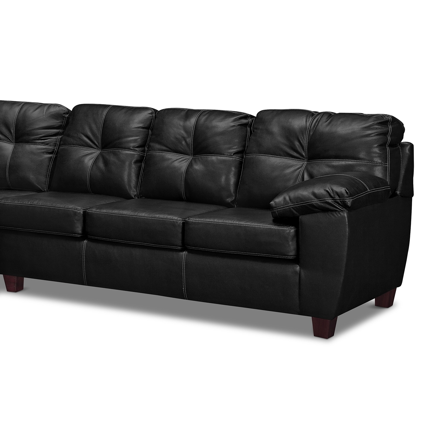 rialto leather 2 pc sectional with chaise value city. Black Bedroom Furniture Sets. Home Design Ideas