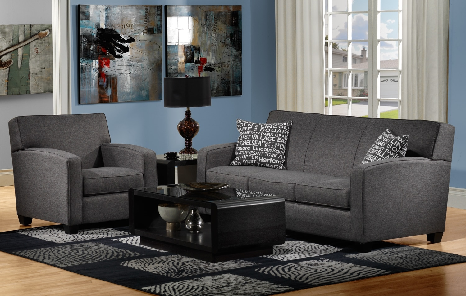 Falcon 2 Pc. Living Room Package w/ Chair - Graphite