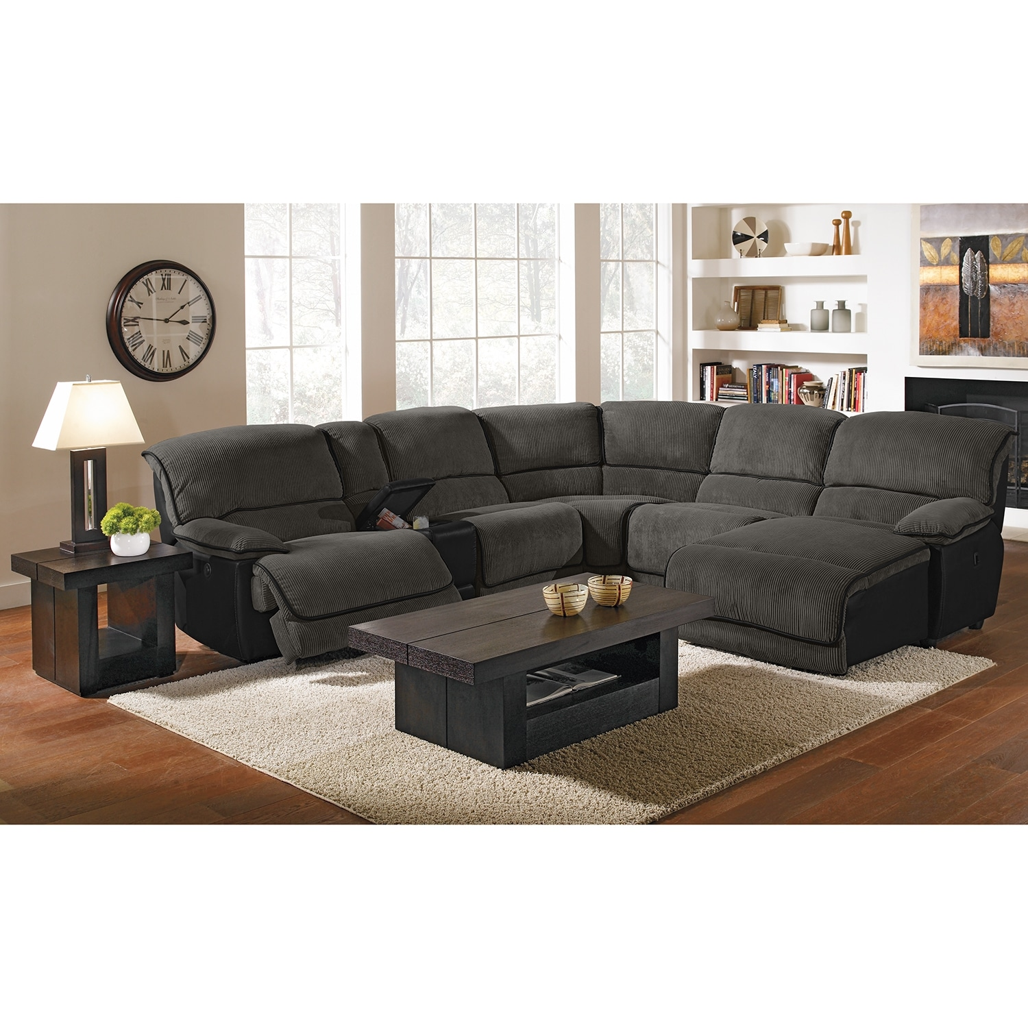 Del mar ii upholstery 6 pc power reclining sectional for 6 pc sectional living room