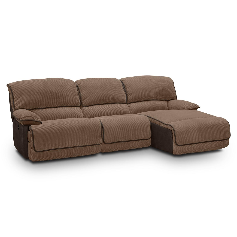 nina leather reclining sectional sofa 3 piece power