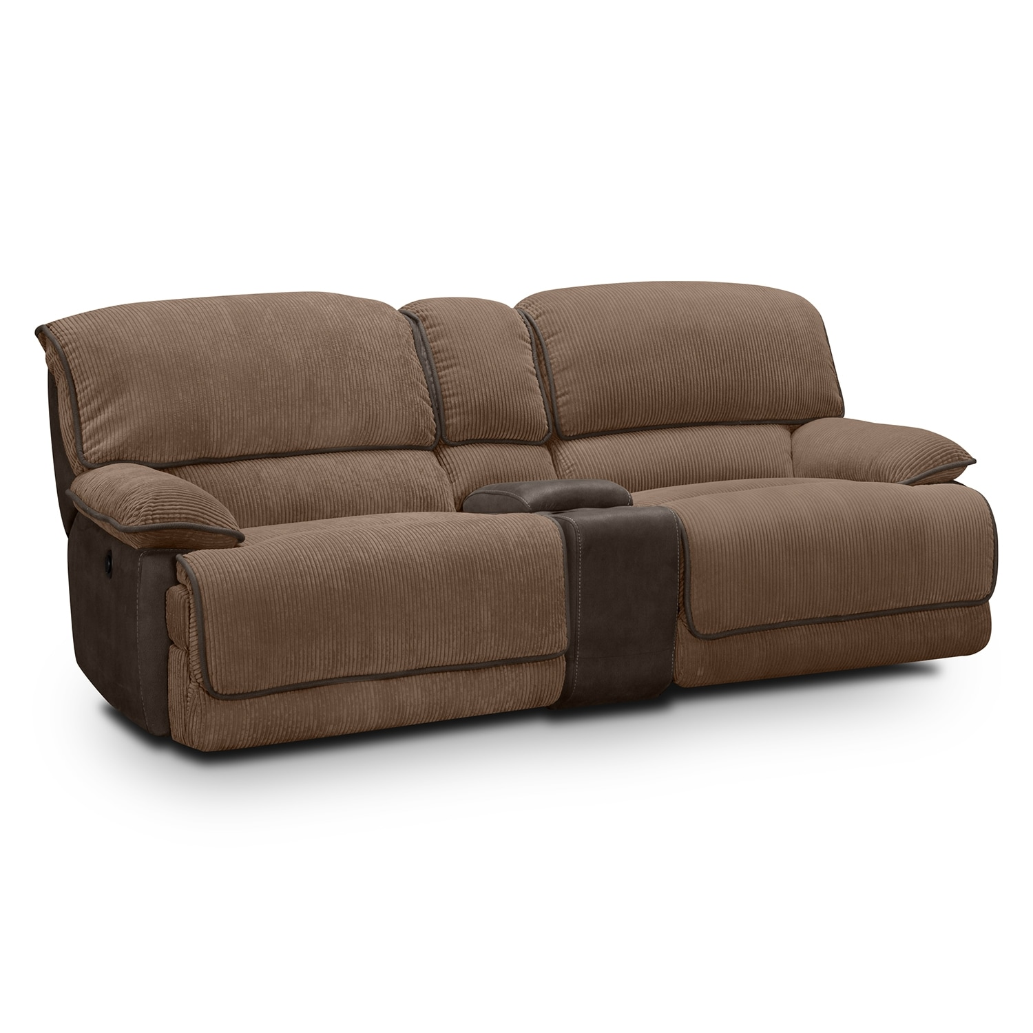 Del Mar Upholstery 3 Pc Power Reclining Sofa With Console Value City Furniture