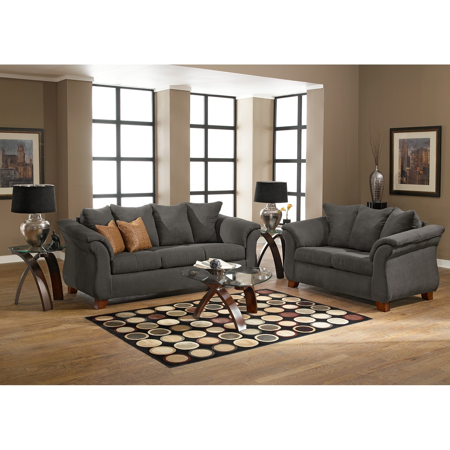 Adrian sofa graphite american signature furniture for American signature couch