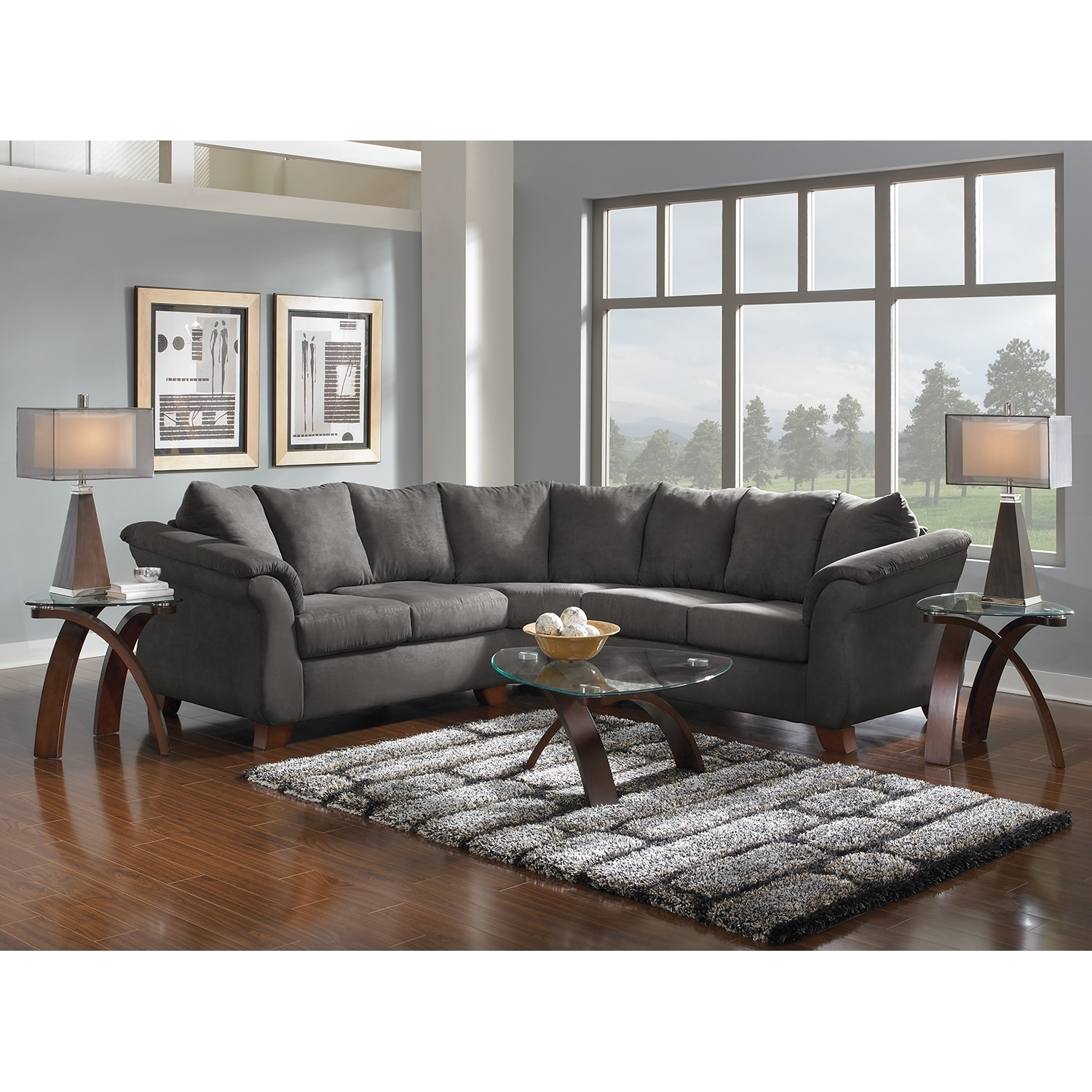 Living Room Furniture: Adrian 2-Piece Sectional - Graphite