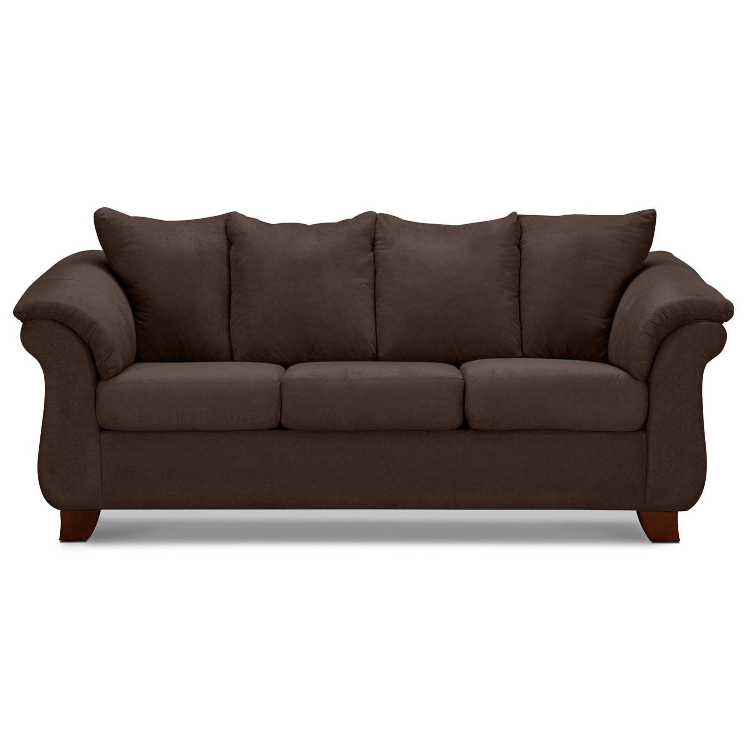 Adrian sofa chocolate value city furniture for Divan furniture