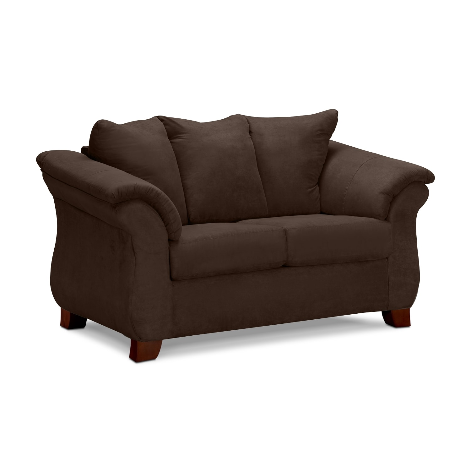 Adrian loveseat chocolate value city furniture for Com furniture