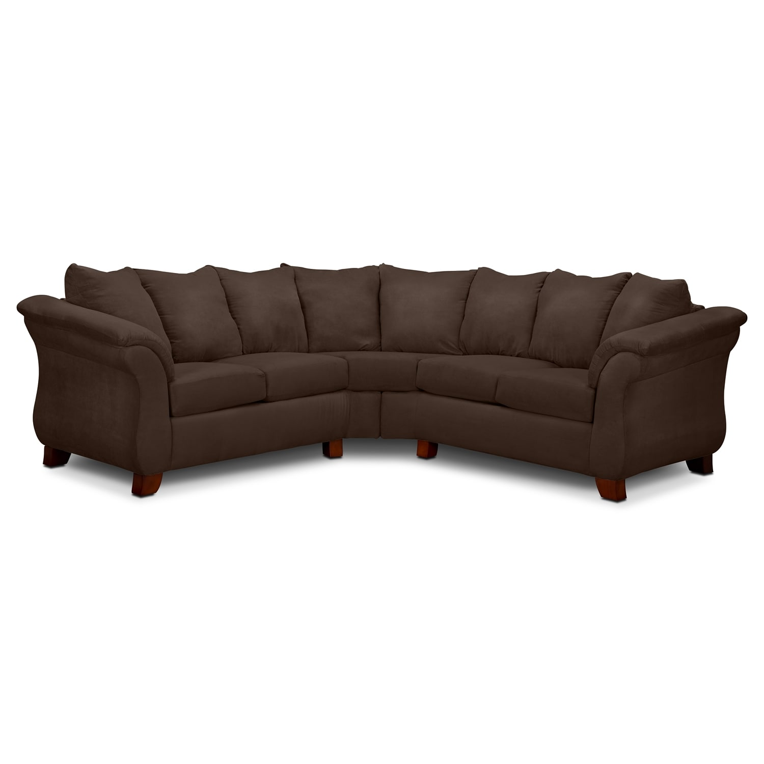 Adrian 2 piece sectional chocolate value city furniture Chocolate loveseat
