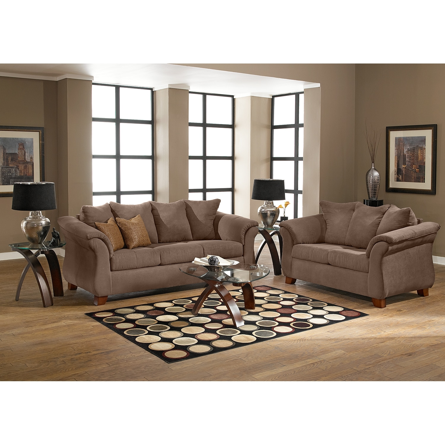 Adrian sofa taupe american signature furniture for Living room sofa
