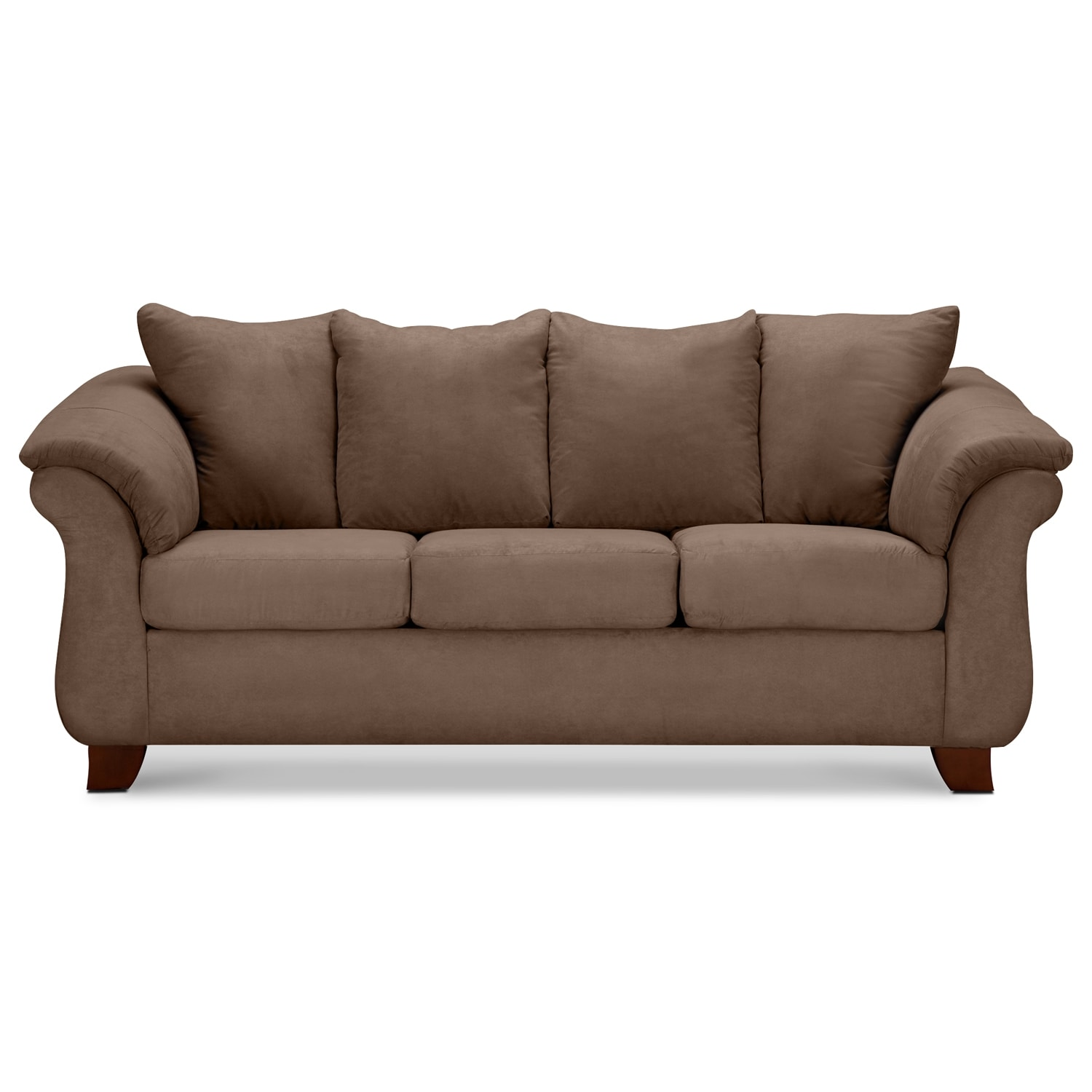 Adrian sofa taupe value city furniture for Living room sofa