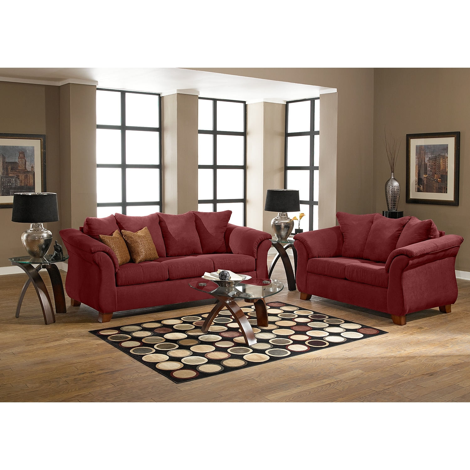 Adrian sofa red value city furniture for Room with furniture