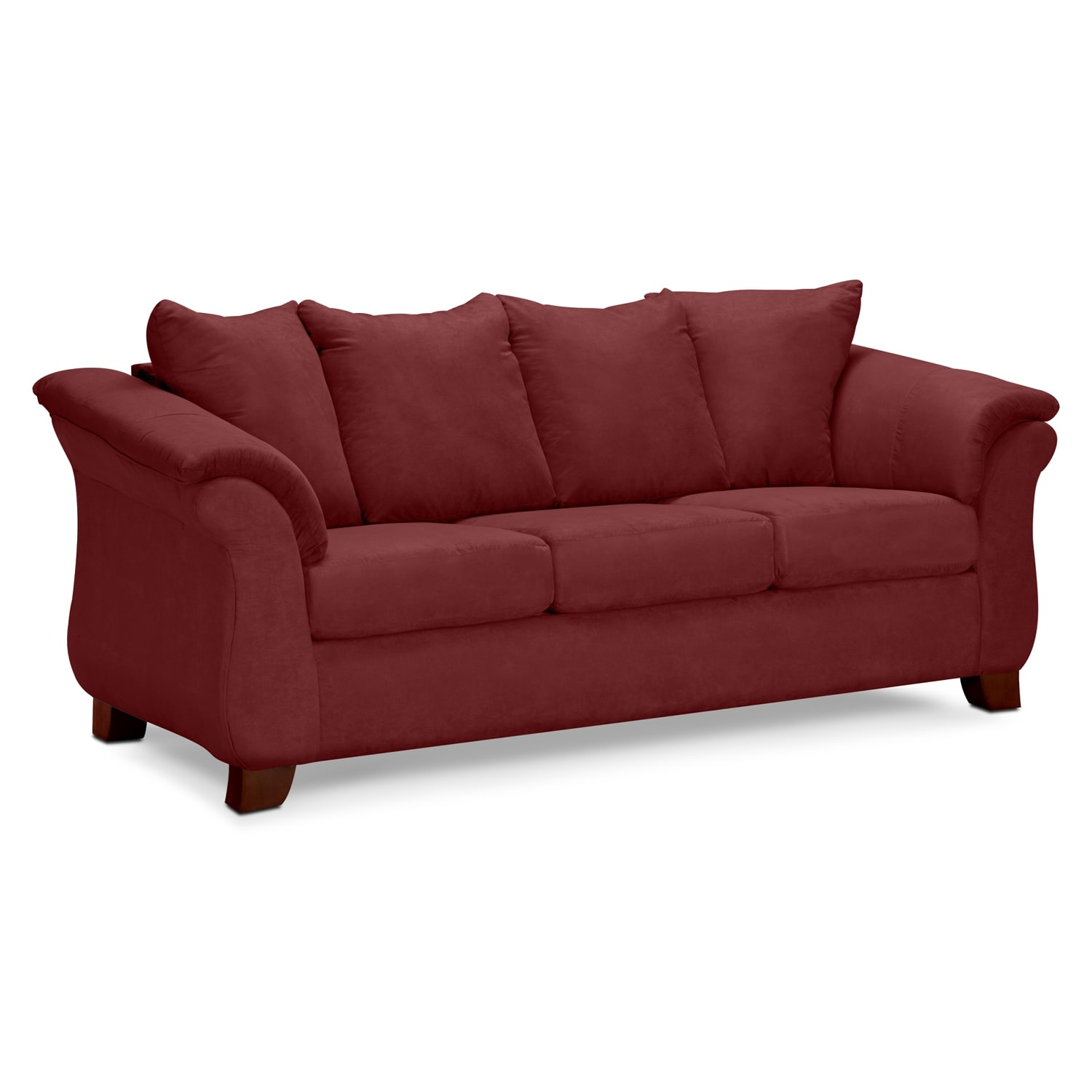 Adrian red upholstery sofa value city furniture for Furniture upholstery