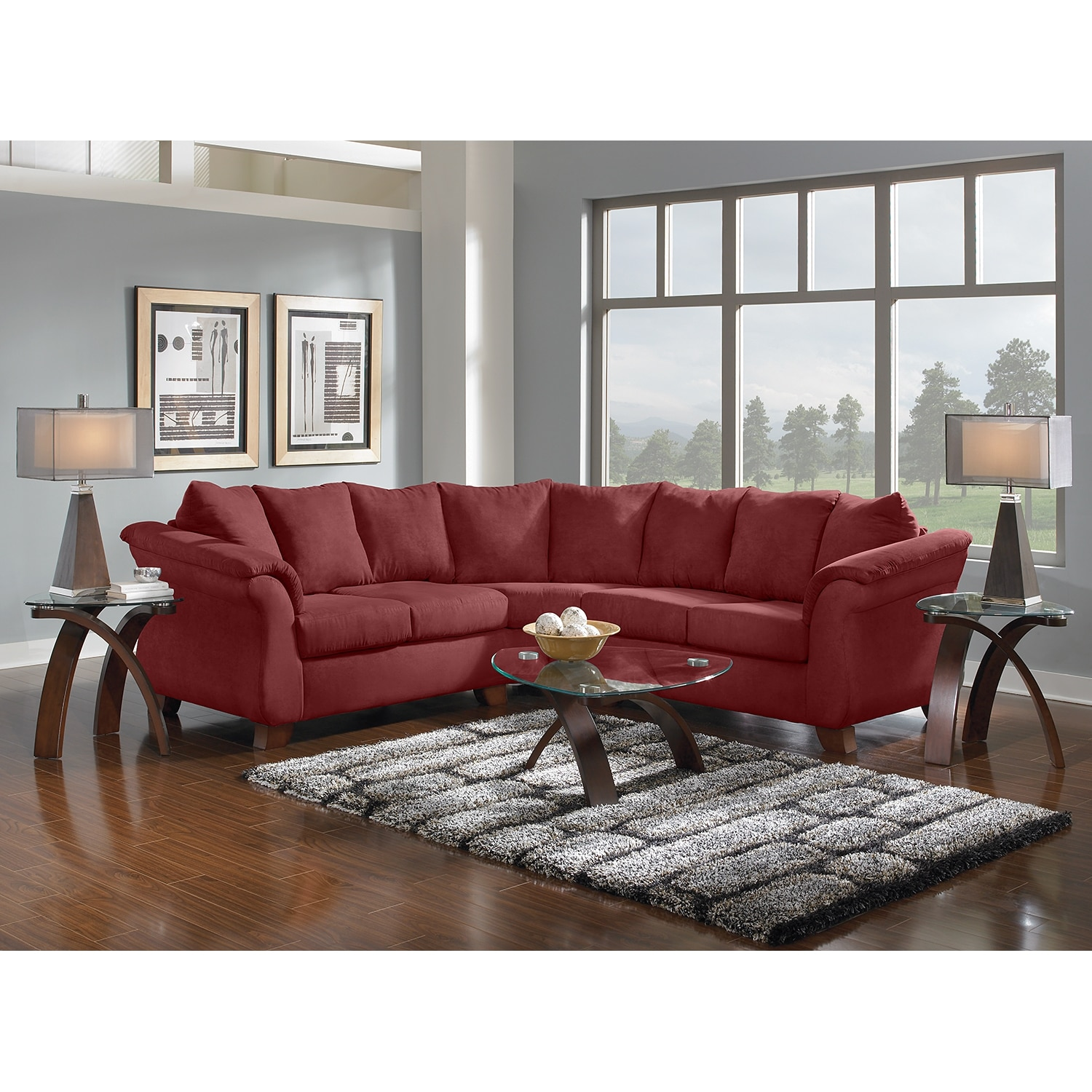 American Signature Furniture Adrian Red II Upholstery 2 Pc Sectional