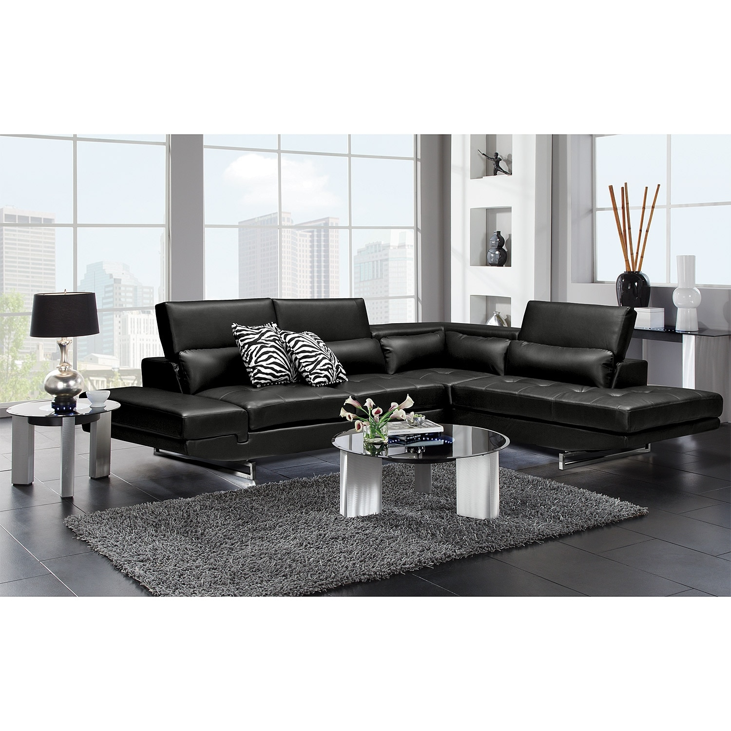 Madrid ii leather 2 pc sectional value city furniture for Furniture madrid
