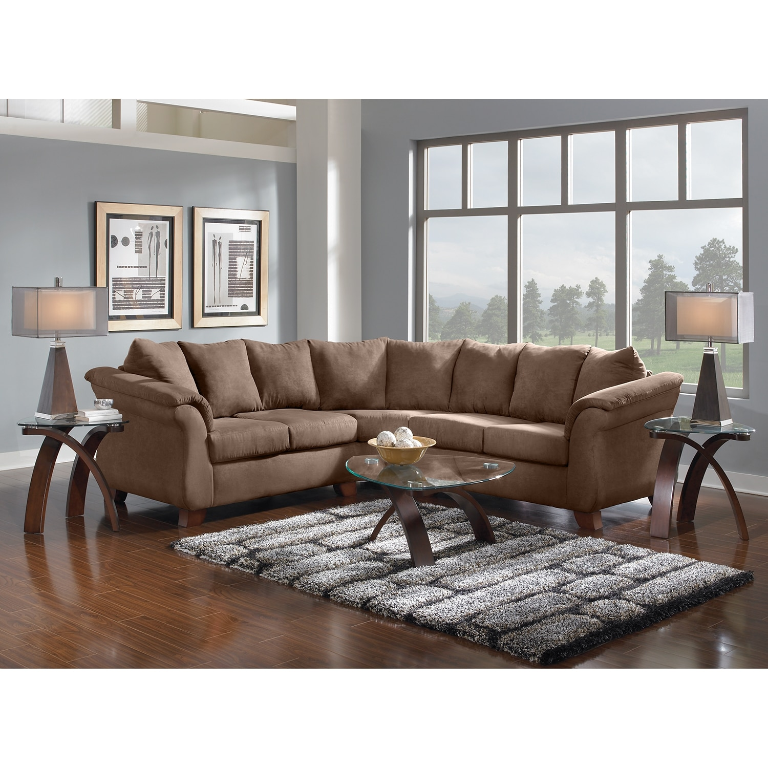 Adrian 2 piece sectional taupe value city furniture for Living room furniture pieces