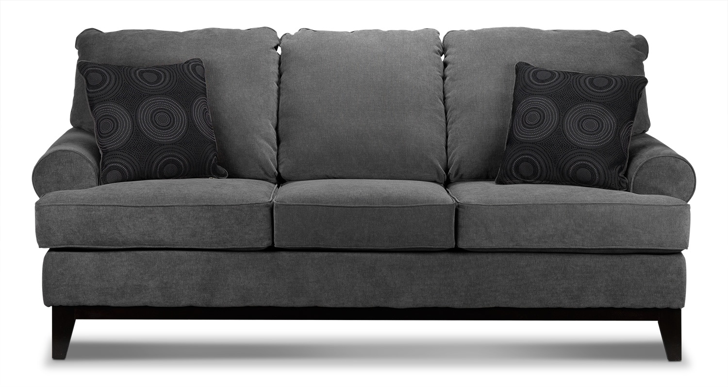 Living Room Furniture - Crizia Sofa - Dark Grey