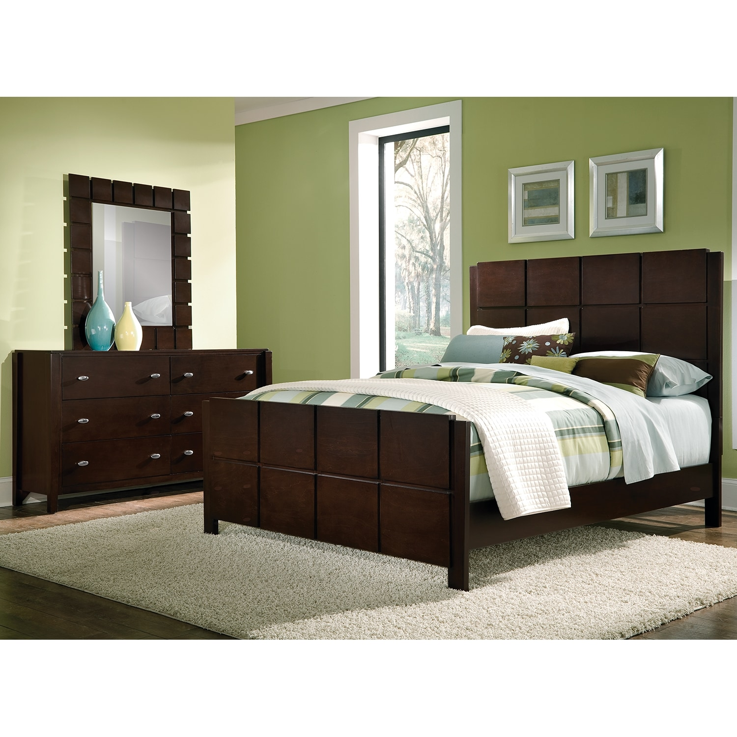 Mosaic 5 piece king bedroom set dark brown american for Bedroom furniture beds