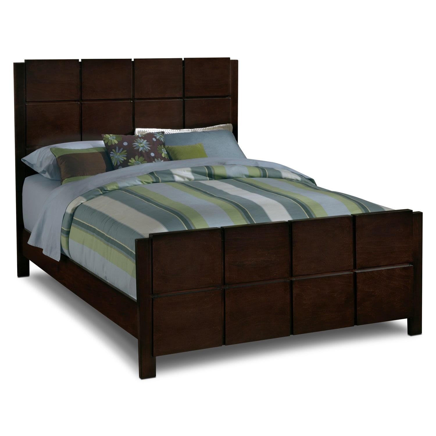 Mosaic queen bed dark brown value city furniture for Bedroom sets with mattress