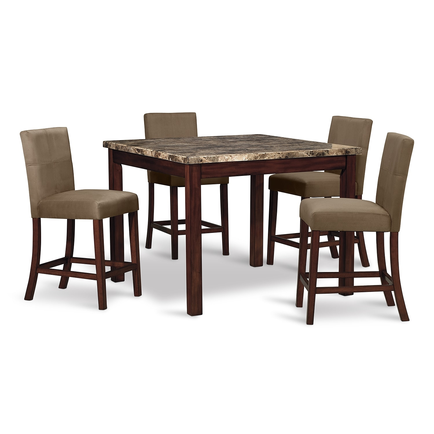Cornerstone ii dining room 5 pc counter height dinette for Dining room value city furniture