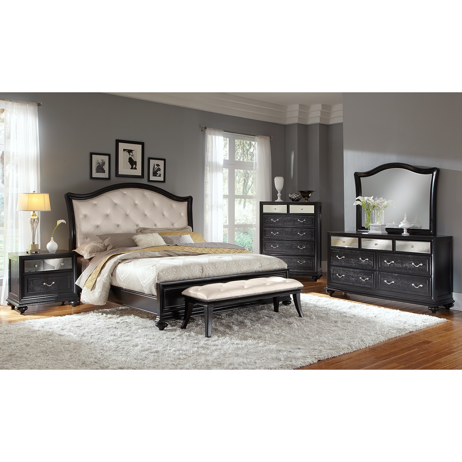 Marilyn queen bed ebony value city furniture for Bedroom sets with mattress included