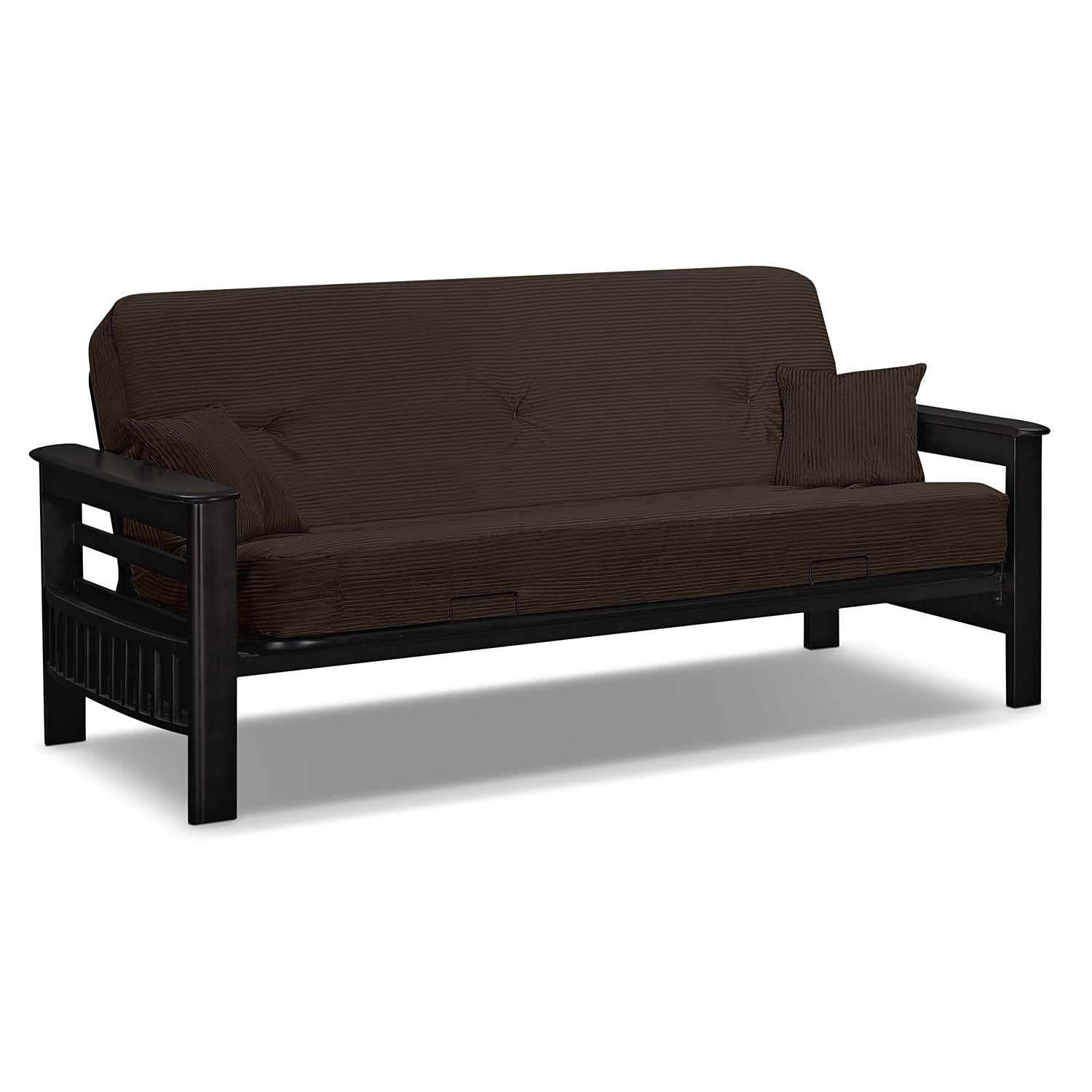 Tampa futon sofa bed brown value city furniture for Furniture sofa bed