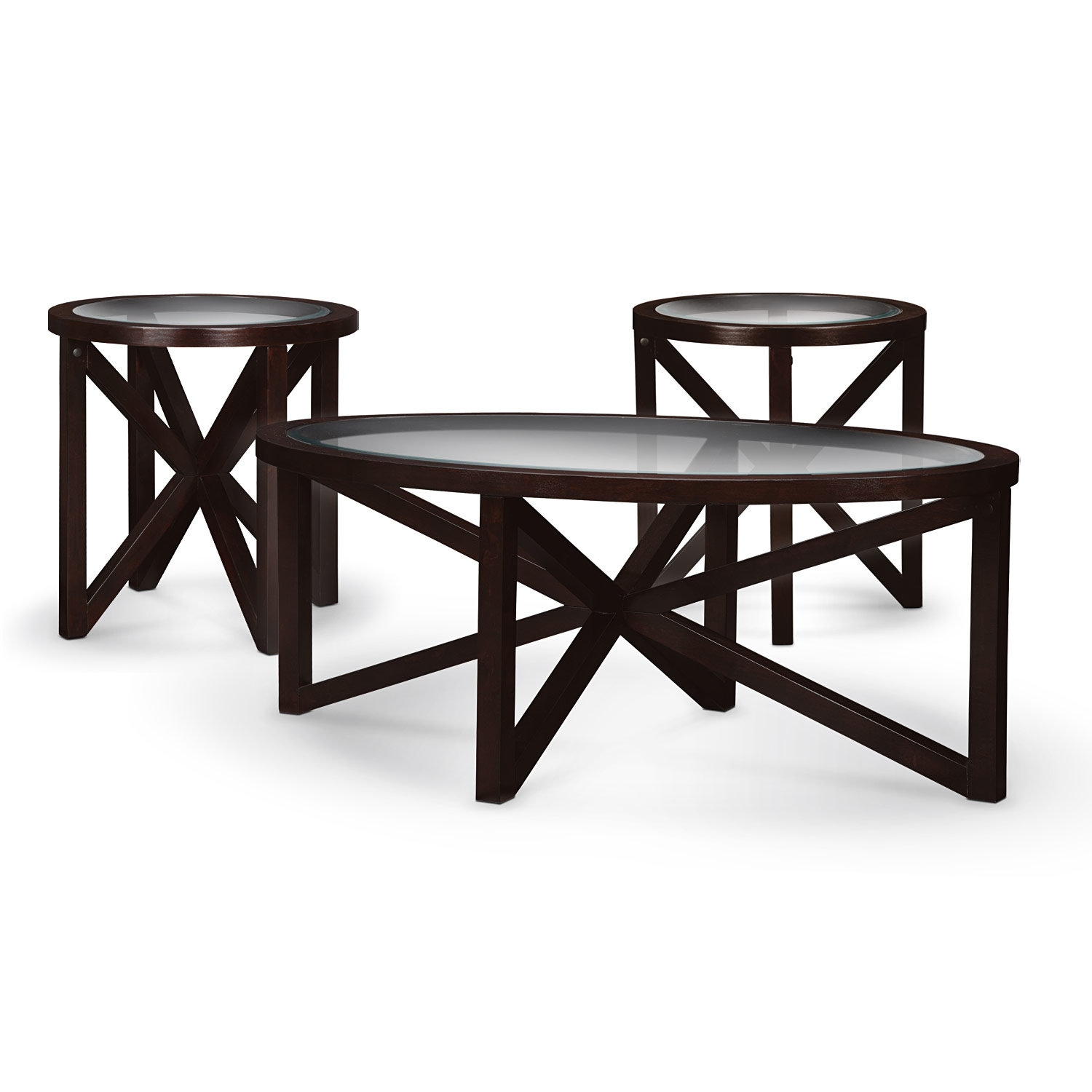 Starburst Cocktail Table And 2 End Tables Merlot