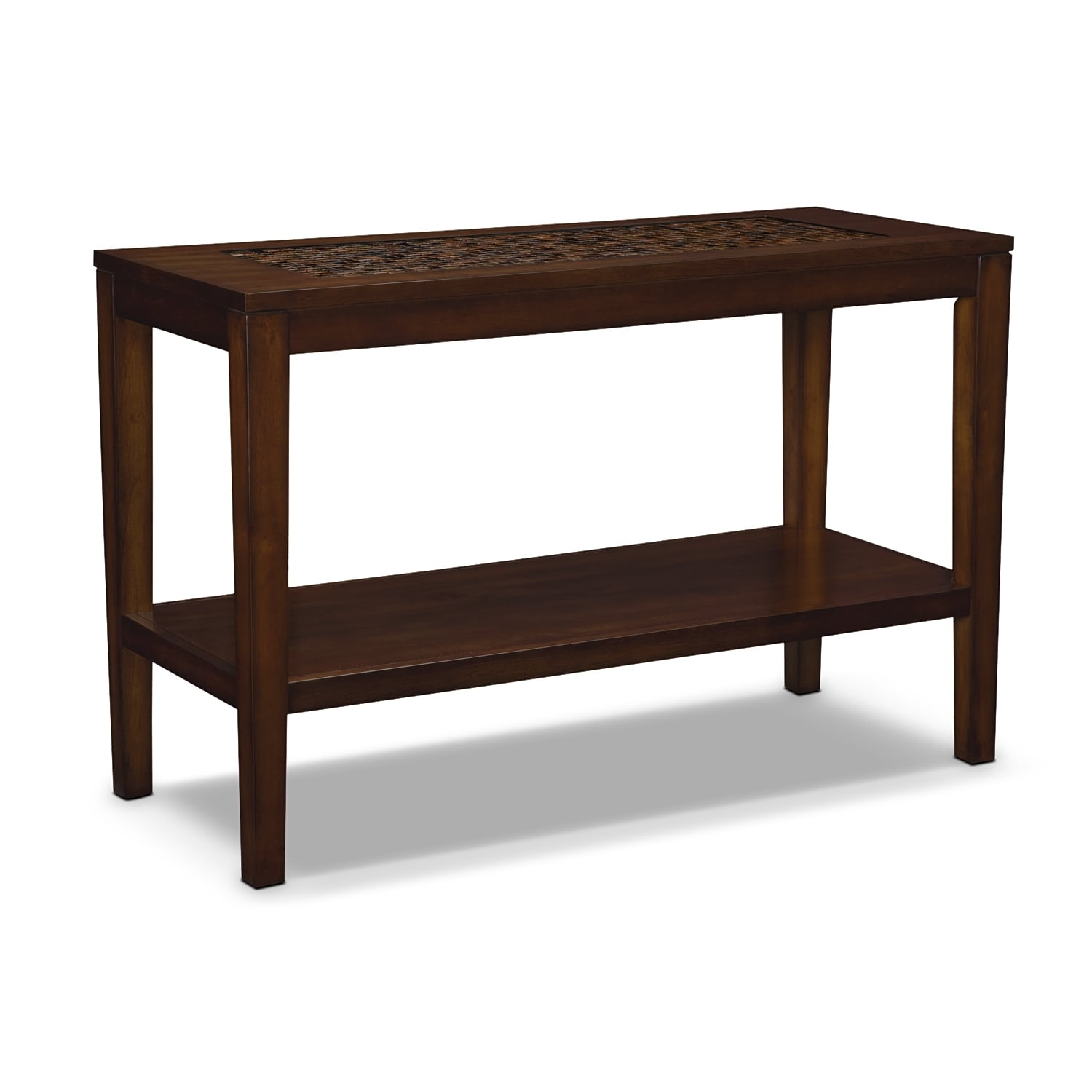 Carson sofa table brown value city furniture for Table furniture