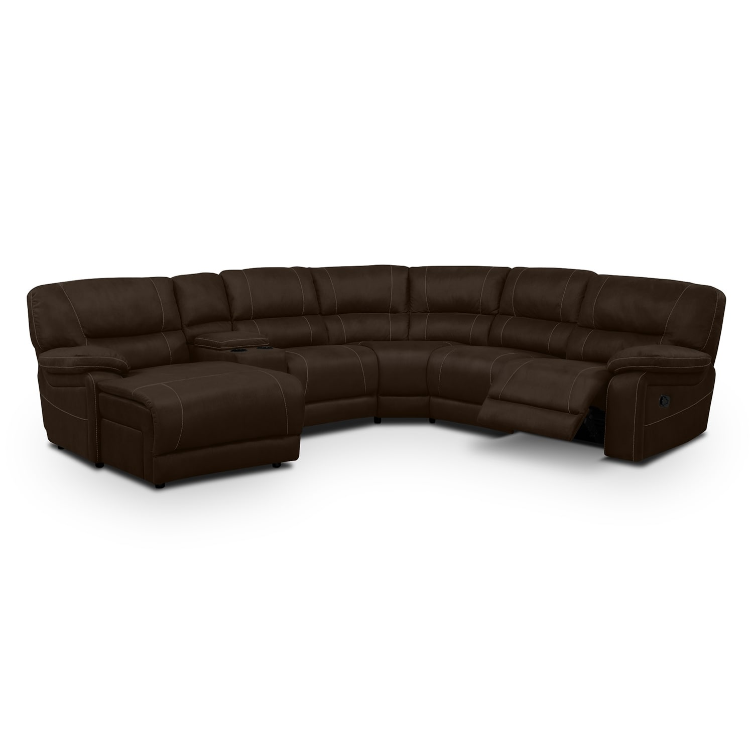 [Wyoming Saddle 5 Pc. Reclining Sectional (Reverse)]