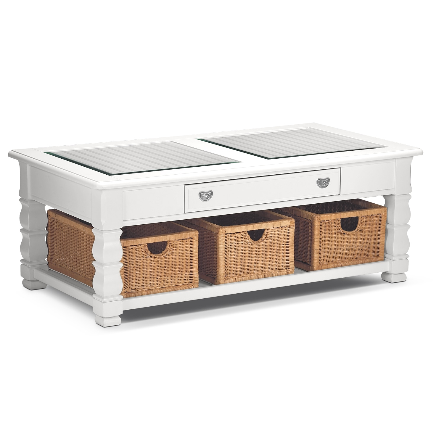 Plantation cove white cocktail table value city furniture for Occasional furniture