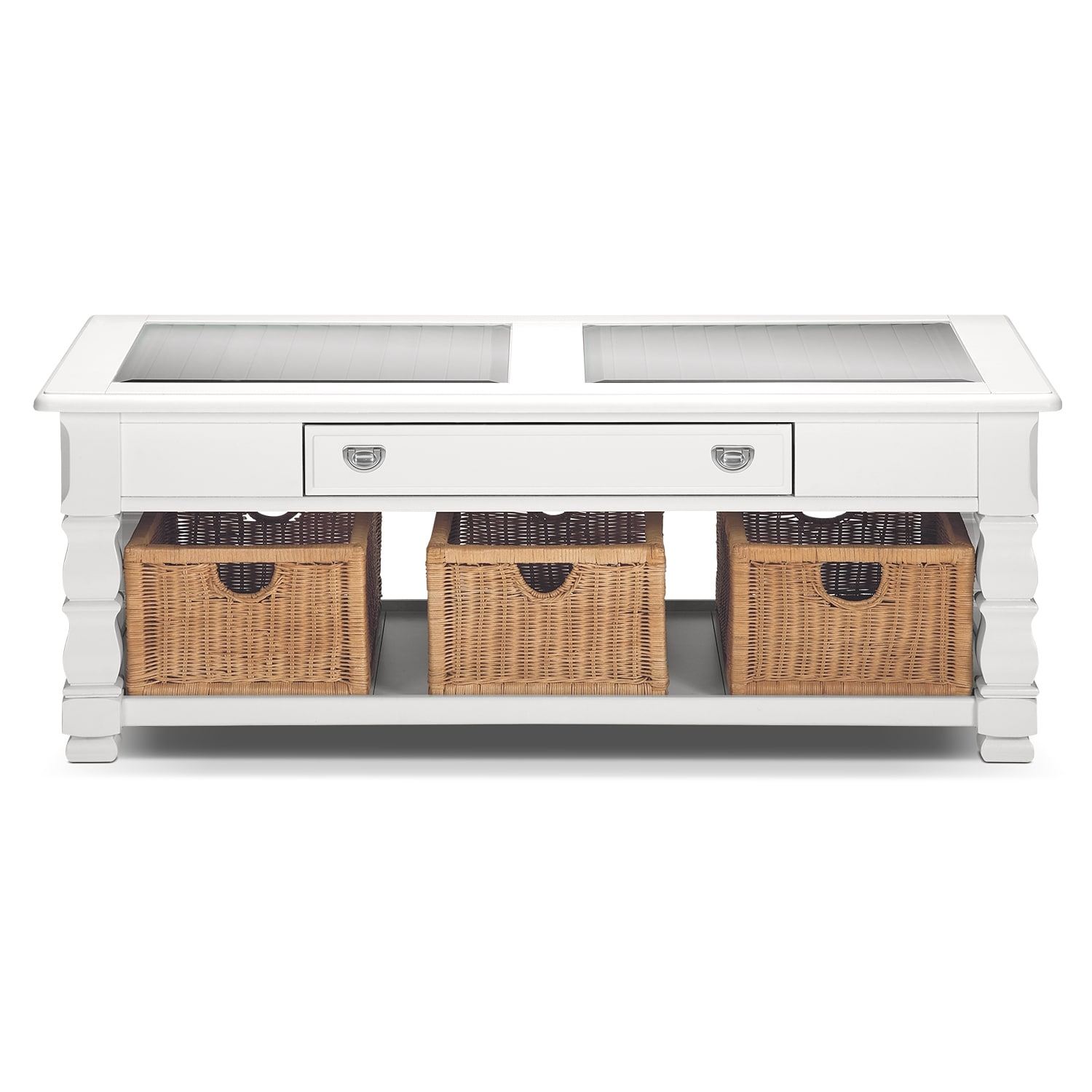 American Signature Coffee Table: Plantation Cove White Cocktail Table