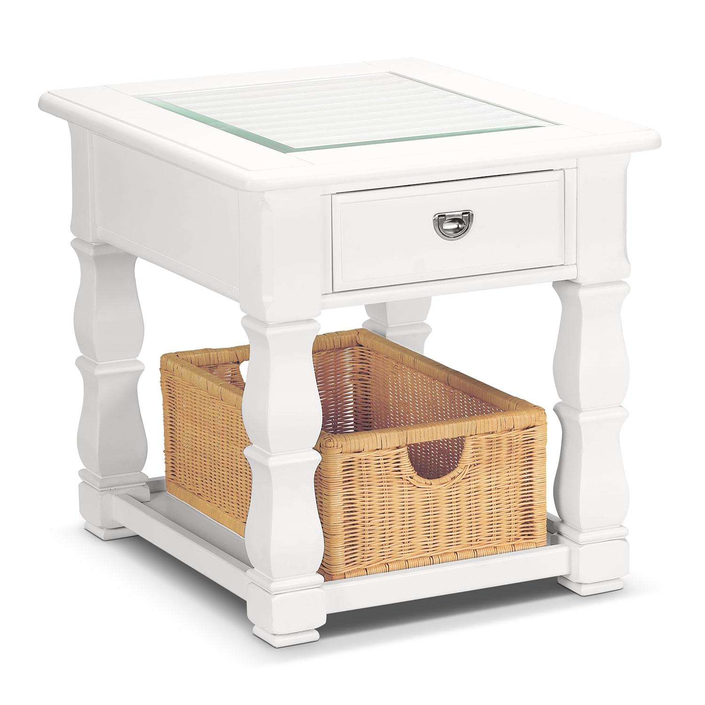 [Plantation Cove White End Table]