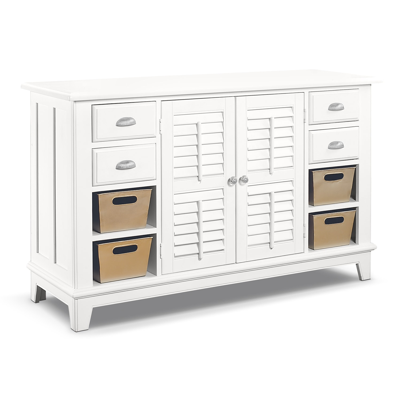 Plantation cove white console table american signature - Plantation cove bedroom furniture ...