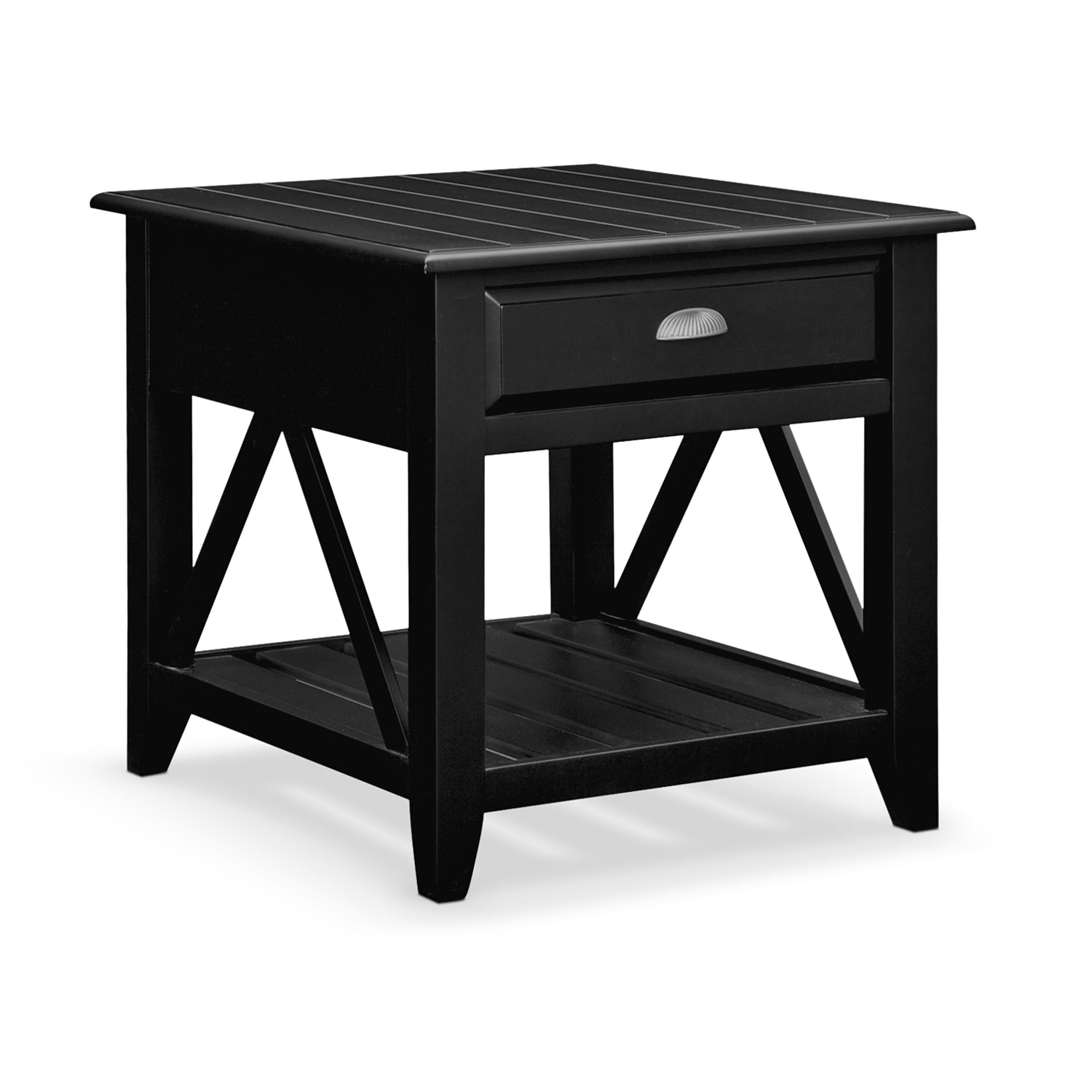 Plantation cove coastal black end table value city furniture for Black wood end tables