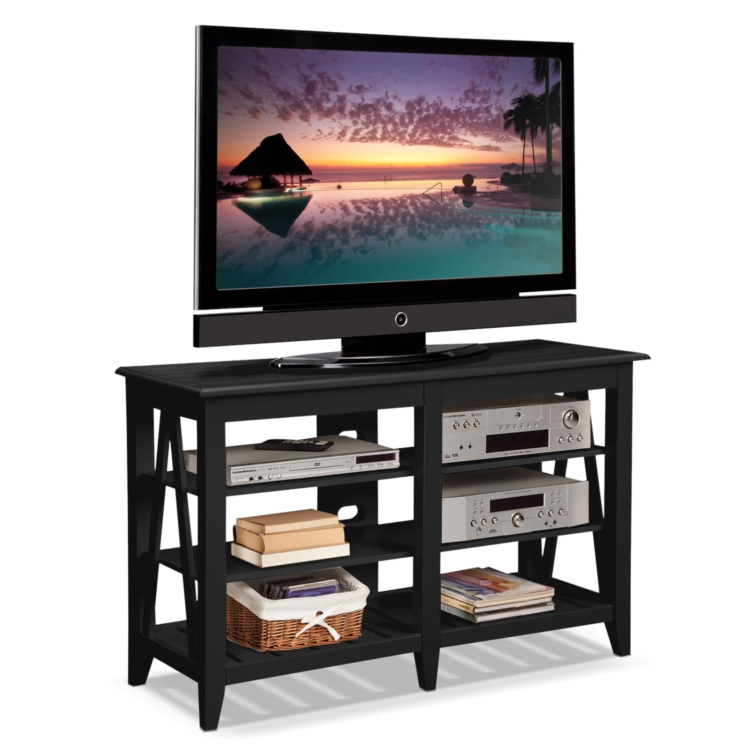 Plantation cove coastal tv stand black american for Tv furniture