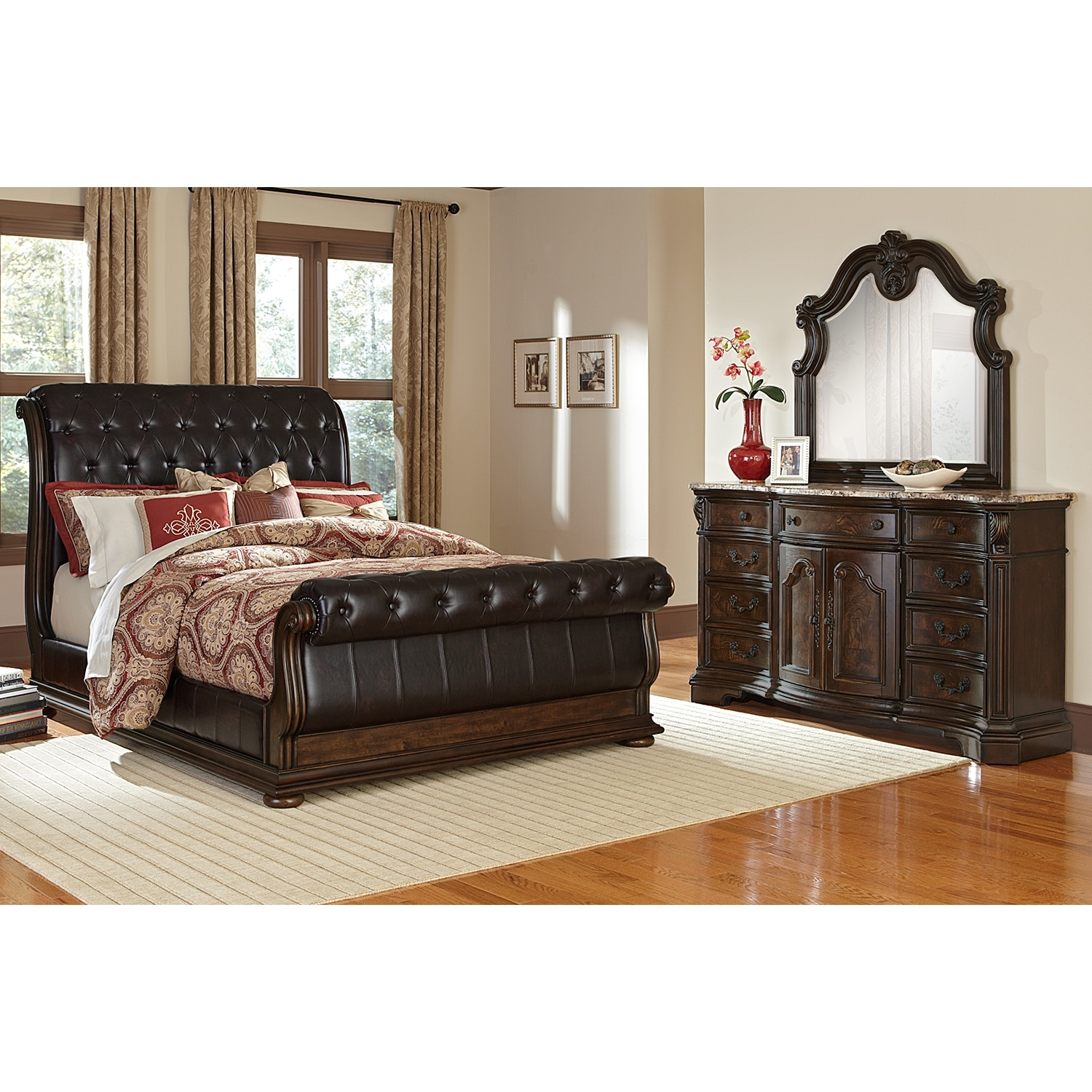Monticello pecan ii 5 pc king bedroom value city furniture for Furniture bedroom furniture