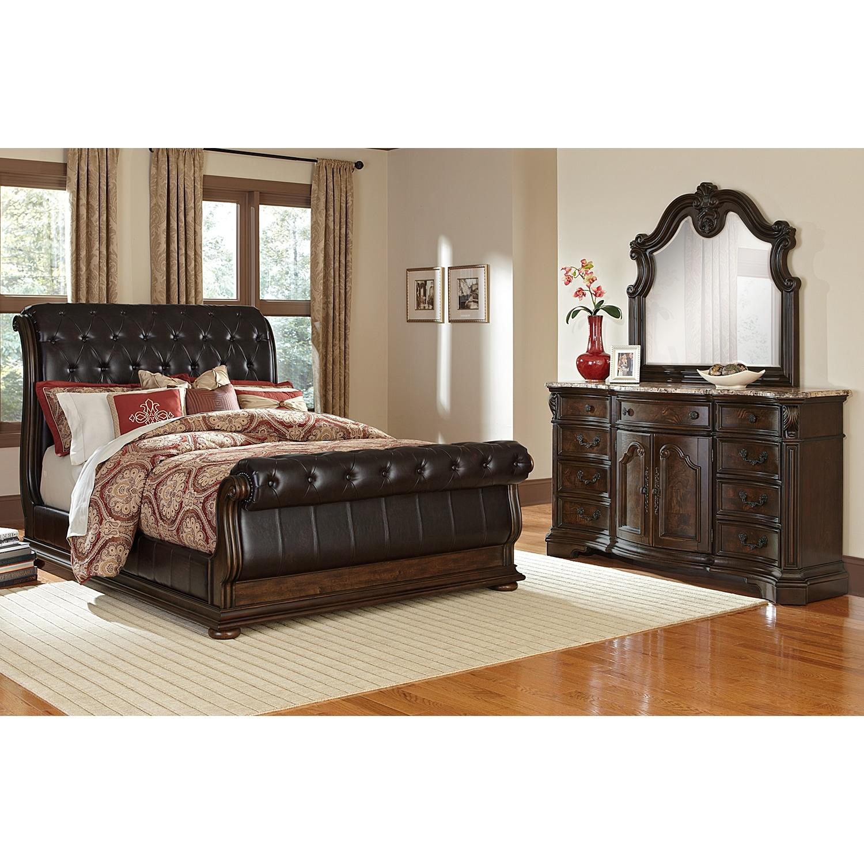 2 monticello 5 piece queen sleigh bedroom set pecan