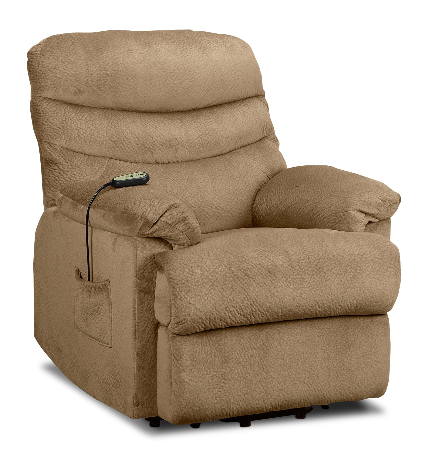 Living Room Furniture - Bradey Power Lift Recliner - Camel