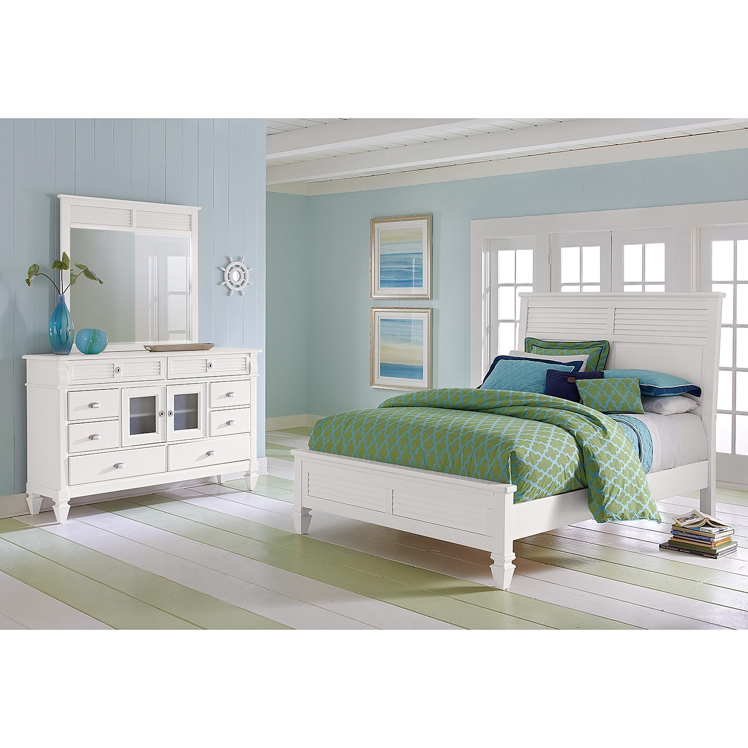 charleston bay white bedroom 5 pc queen bedroom value